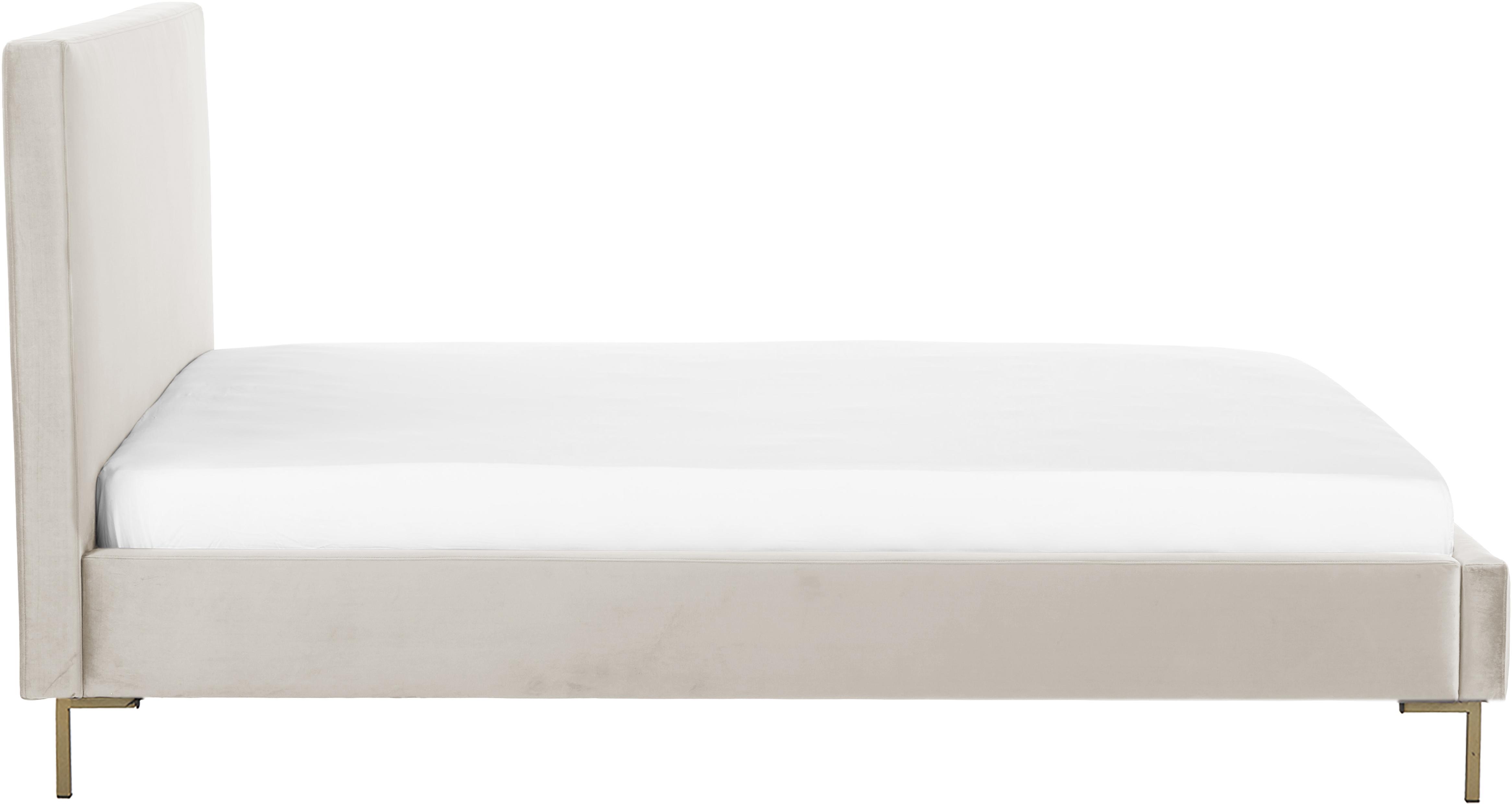 Samt-Polsterbett Peace, Korpus: Massives Kiefernholz, Füße: Metall, pulverbeschichtet, Bezug: Polyestersamt 30.000 Sche, Taupe, 180 x 200 cm