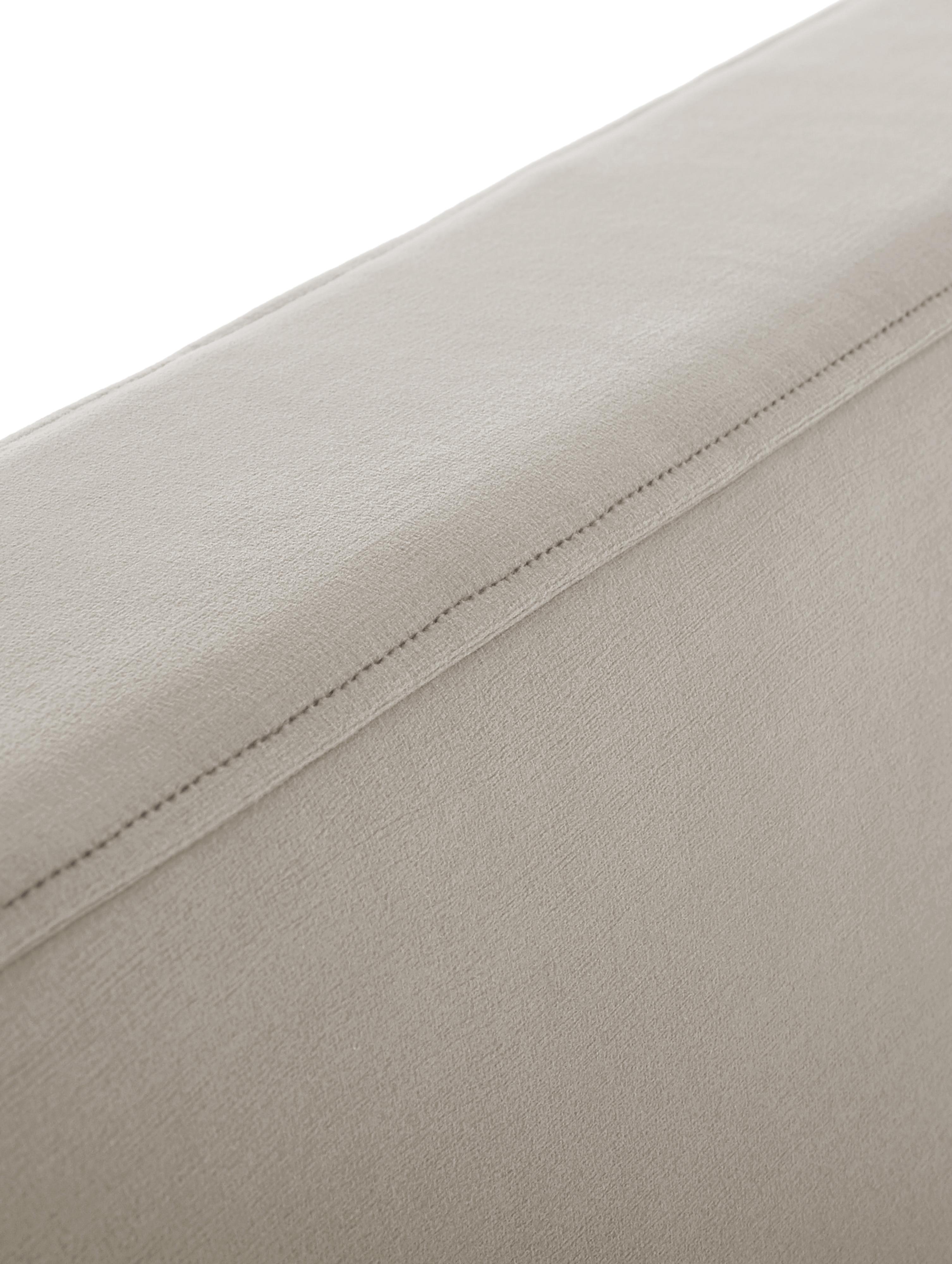 Cama de terciopelo Peace, Estructura: madera de pino macizo, Patas: metal, pintura en polvo, Funda: terciopelo de poliéster 3, Gris pardo, 160 x 200 cm