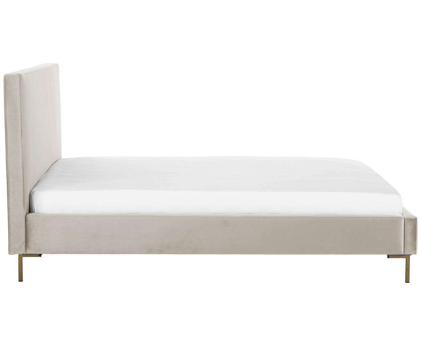 Łóżko tapicerowane z aksamitu Peace, Korpus: lite drewno sosnowe, Nogi: metal malowany proszkowo, Tapicerka: aksamit poliestrowy 3500, Taupe, 180 x 200 cm