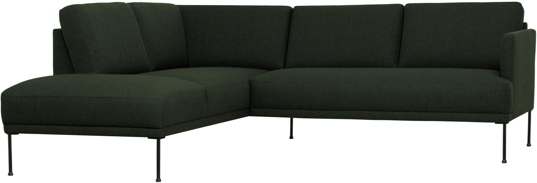 Canapé d'angle tissu vert foncé Fluente, Tissu vert foncé