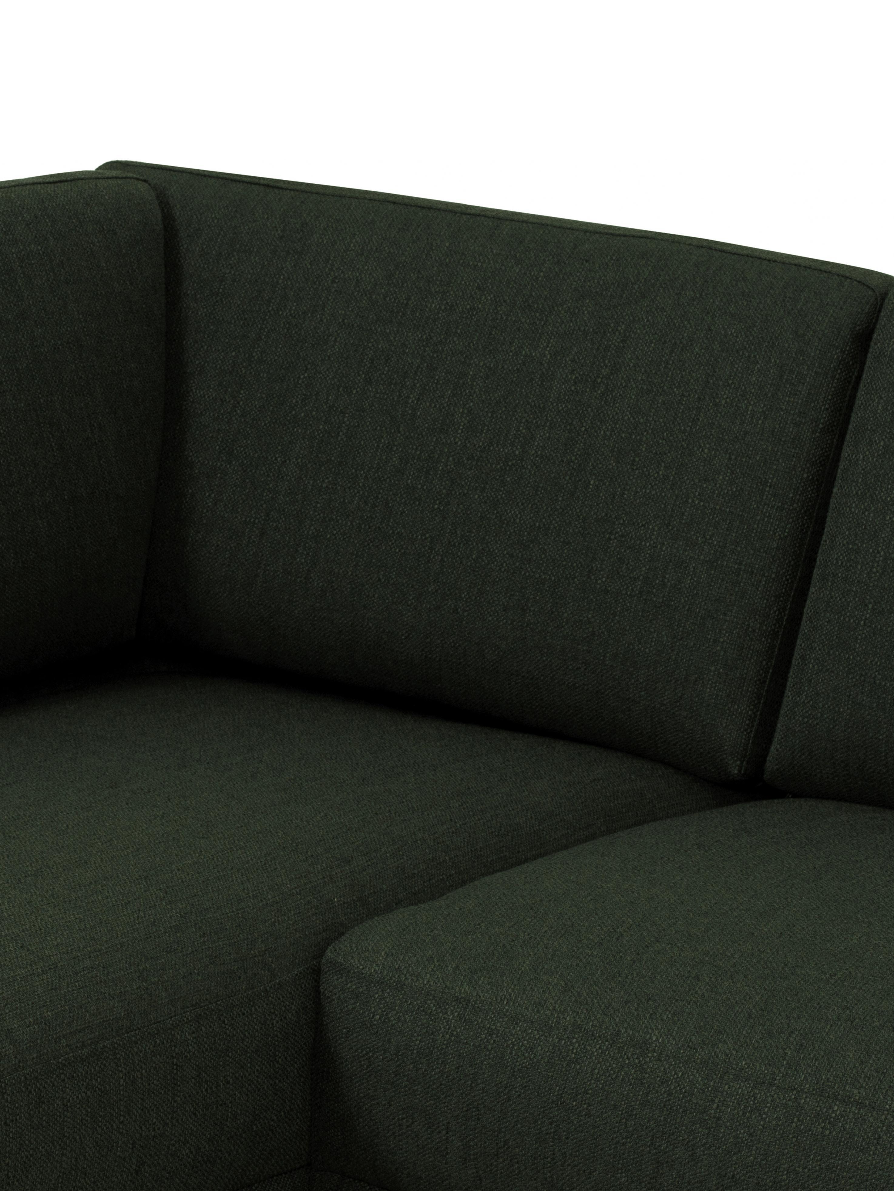 Divano angolare in tessuto verde scuro Fluente, Rivestimento: 100% poliestere 40.000 ci, Struttura: legno di pino massiccio, Piedini: metallo verniciato a polv, Tessuto verde scuro, Larg. 221 x Prof. 200 cm