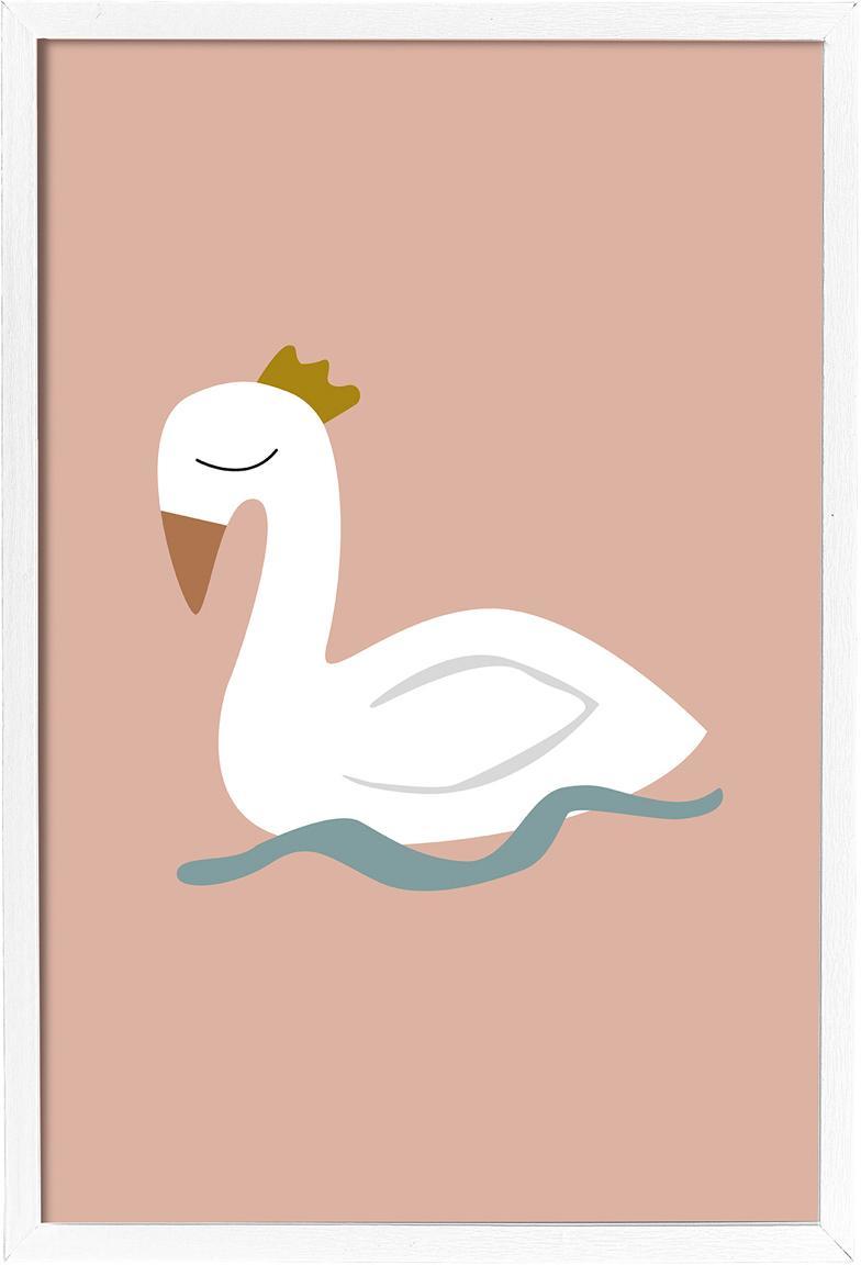 Stampa digitale incorniciata Swan, Immagine: stampa digitale su carta,, Cornice: pannelli di fibra a media, Rosa, bianco, blu, giallo, Larg. 45 x Alt. 65 cm