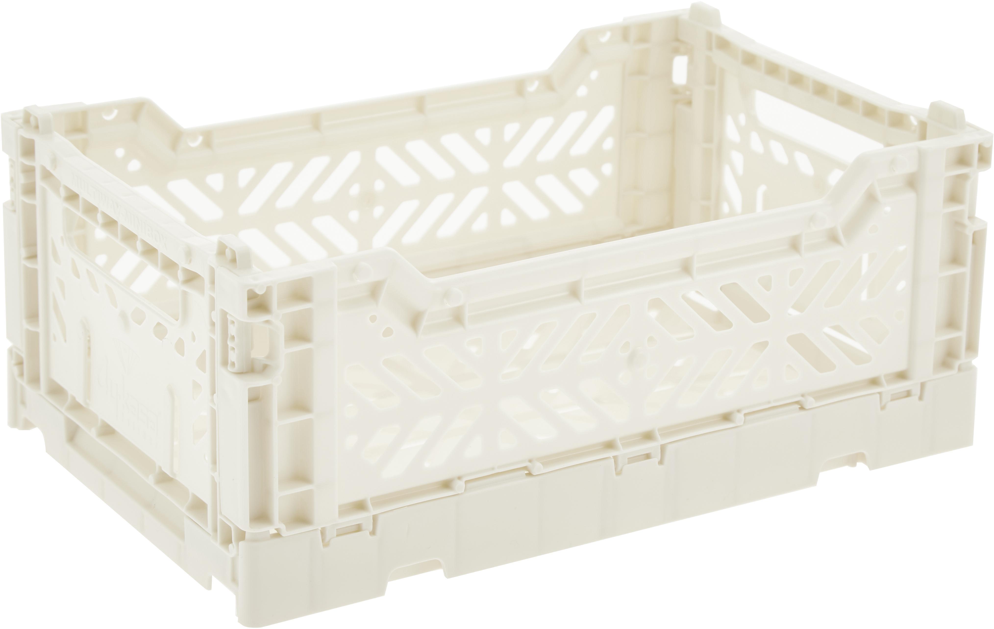 Caja pegable apilable Coconut Milk, pequeña, Plástico reciclado, Blanco roto, An 27 x Al 11 cm