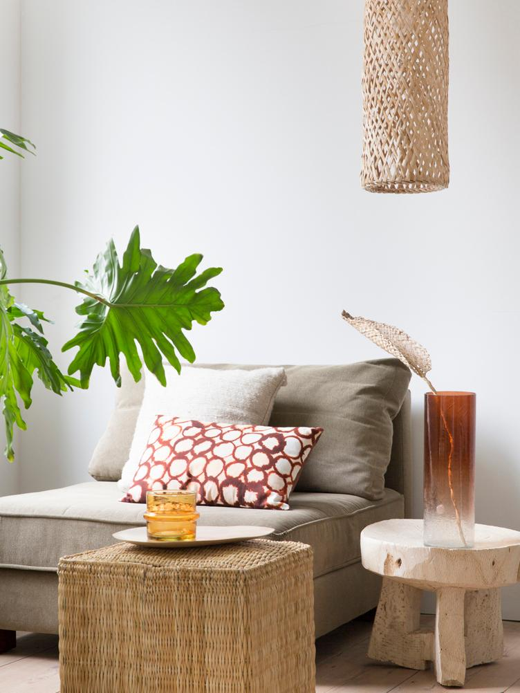 Decoratief object Planta de Praia, Gevlochten bananenbladeren, Beige, 15 x 80 cm