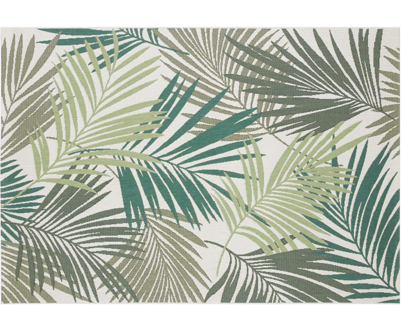 In- en outdoor vloerkleed Vai met bladpatroon, Polypropyleen, Groentinten, beige, B 80 x L 150 cm (maat XS)