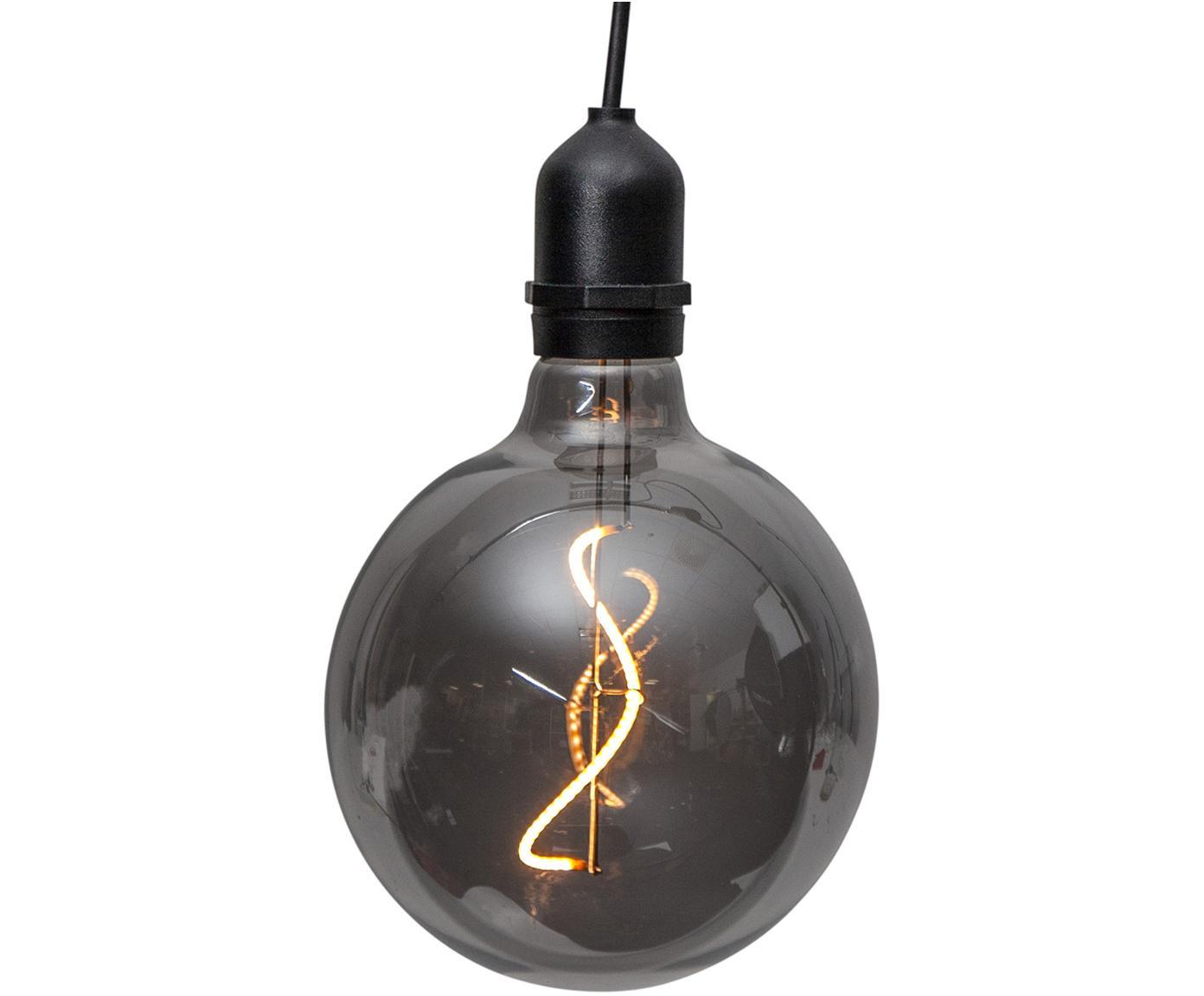 Outdoor LED lamp Bowl, Glas, kunststof, Donkergrijs, transparant, zwart, Ø 13 x H 18 cm