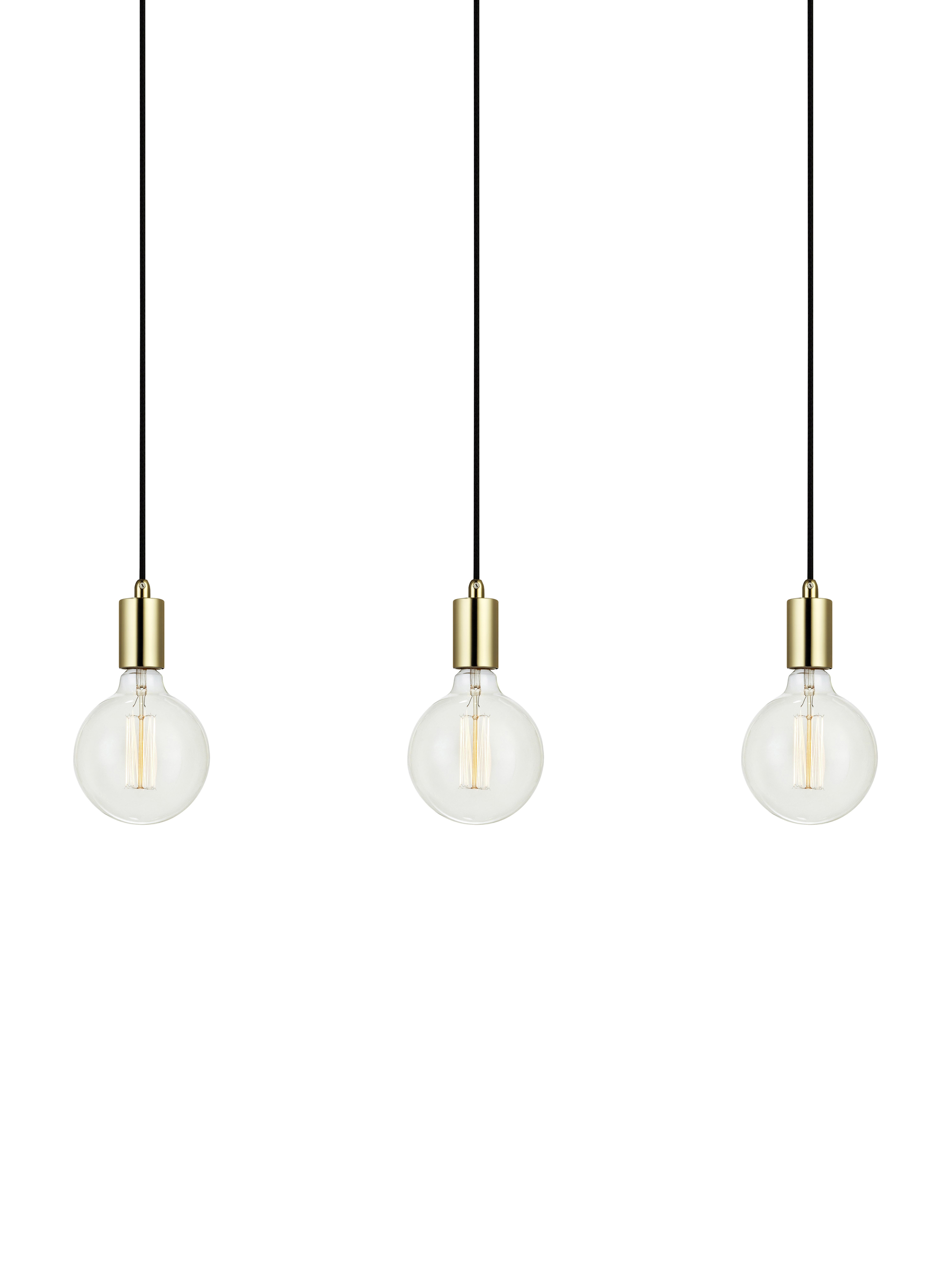 Lámpara de techo Sky, Cable: cubierto en tela, Dorado, negro, An 68 x Al 12 cm