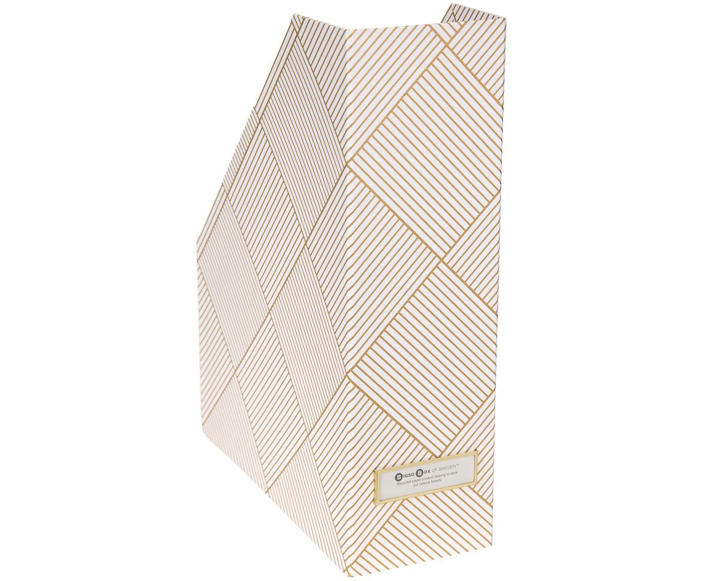 Stehsammler Viktoria, Organizer: Fester, laminierter Karto, Goldfarben, Weiss, 10 x 32 cm