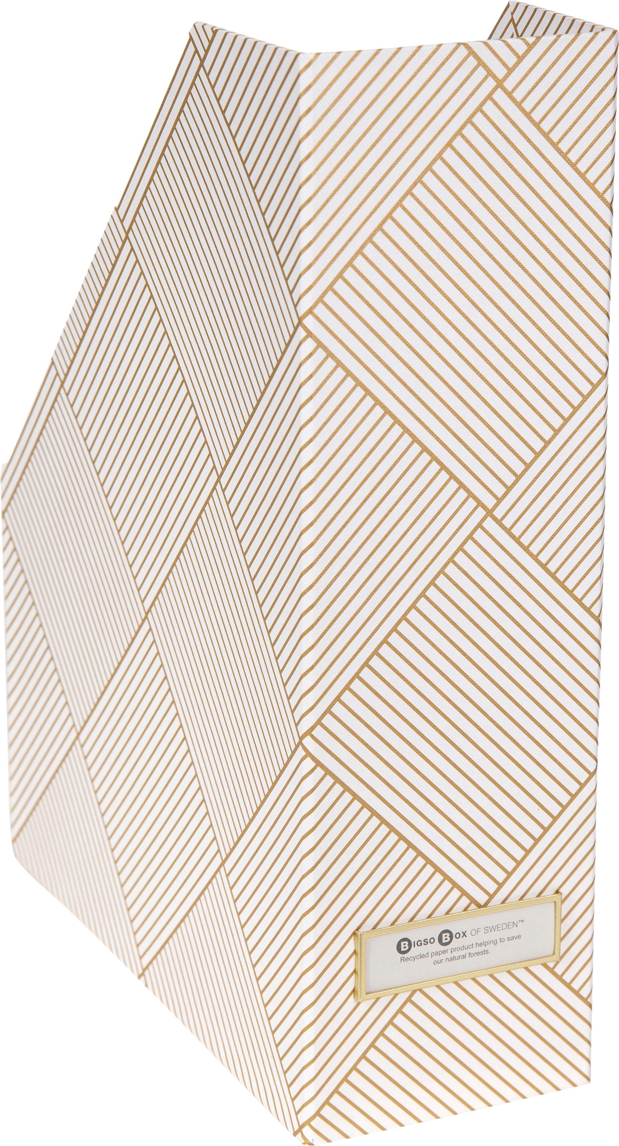 Stehsammler Viktoria, Organizer: Fester, laminierter Karto, Goldfarben, Weiß, 10 x 32 cm