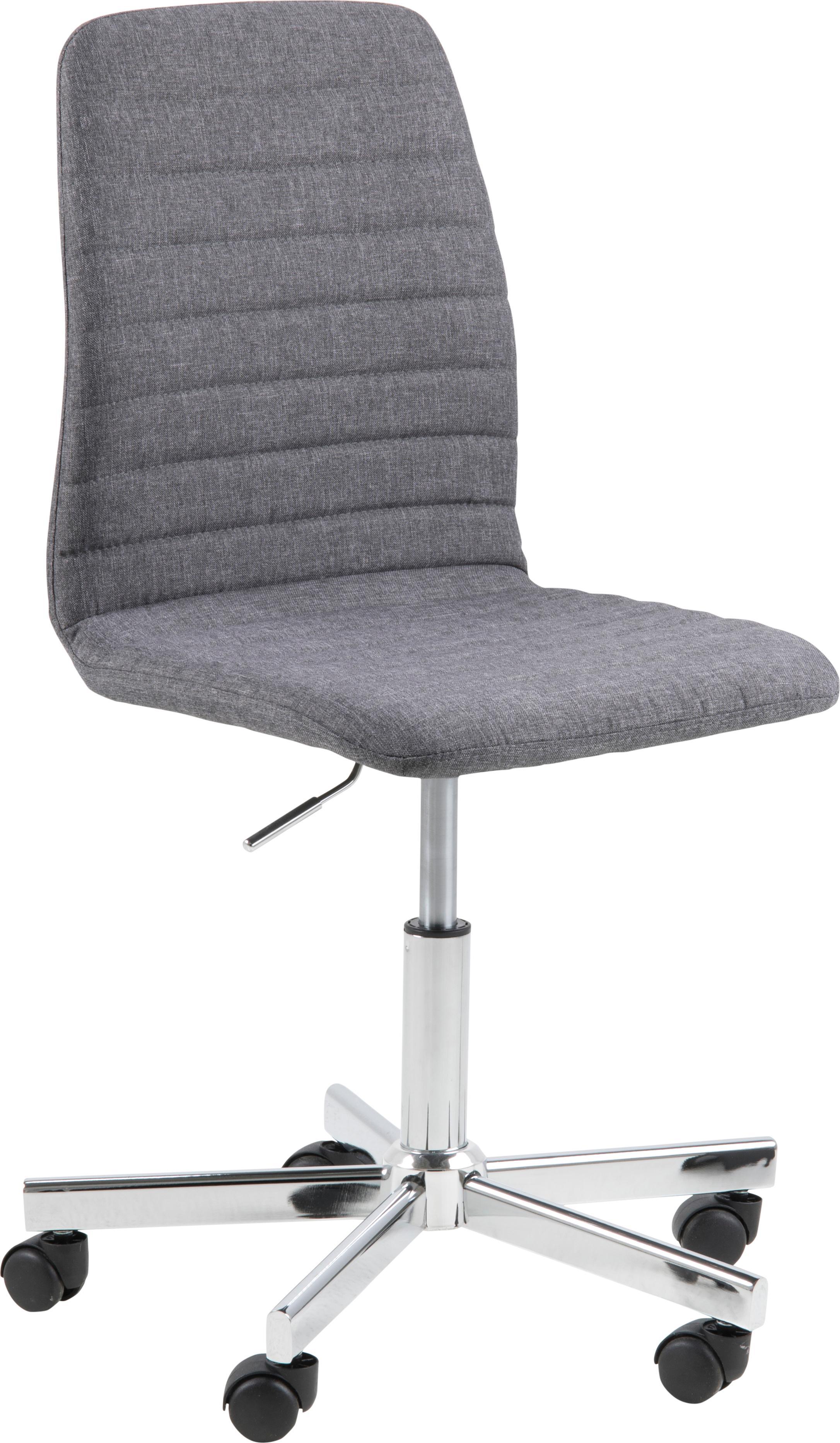 Bürodrehstuhl Amanda, Bezug: Polyester, Beine: Metall, verchromt, Rollen: Kunststoff, Grau, Chrom, B 61 x  T 52 cm