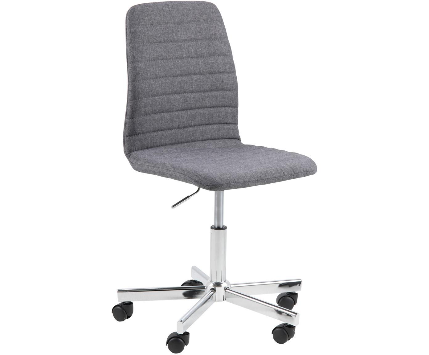Biurowe krzesło obrotowe Amanda, Tapicerka: poliester, Nogi: metal chromowany, Szary, chrom, S 61 x G 52 cm