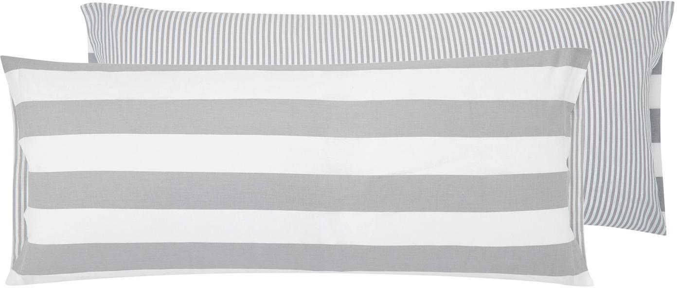 Funda de almohada de tejido renforcé Lorena, caras distintas, Gris claro, crema, An 45 x L 110 cm