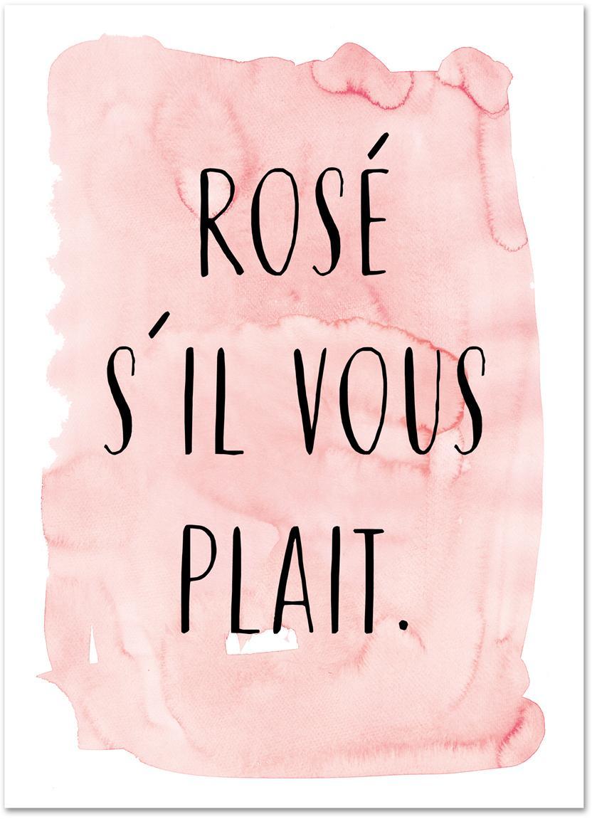 Plakat S'il Vous Plait, Druk cyfrowy na papierze, 200 g/m², Blady różowy, czarny, biały, S 21 x W 30 cm