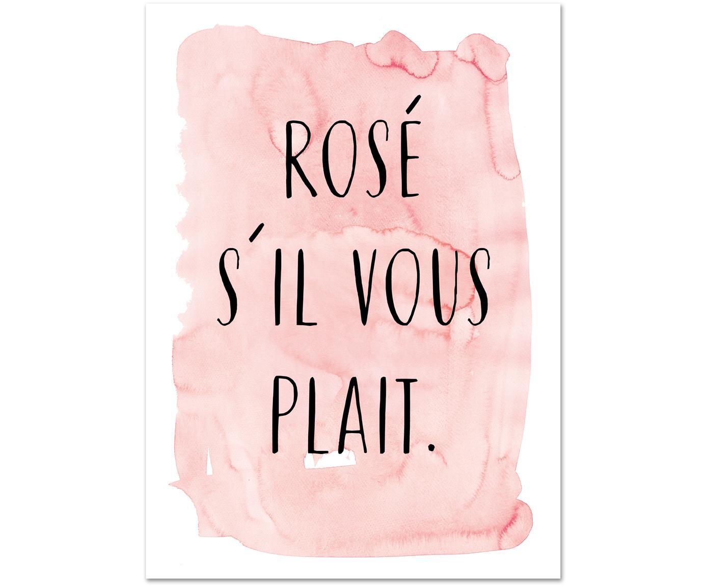 Poster S'il Vous Plait, Stampa digitale su carta, 200 g/m², Rosa, nero, bianco, Larg. 21 x Alt. 30 cm