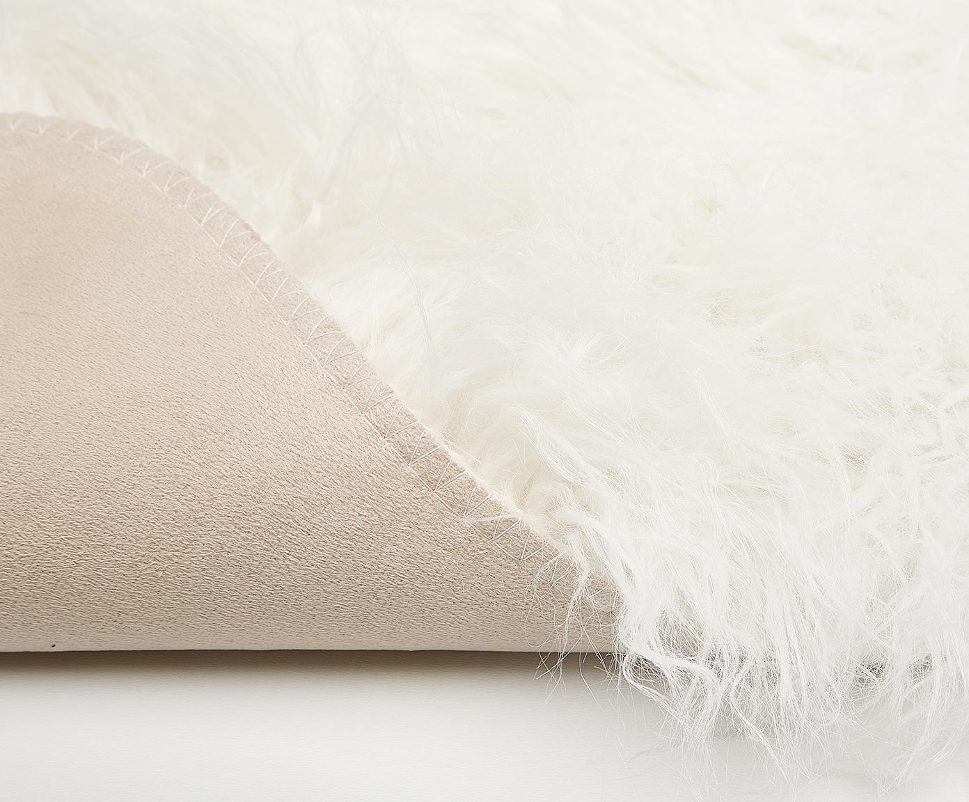 Kunstfell Morten, gelockt, Vorderseite: 67% Acryl, 33% Polyester, Rückseite: Polyester, Creme, 60 x 90 cm