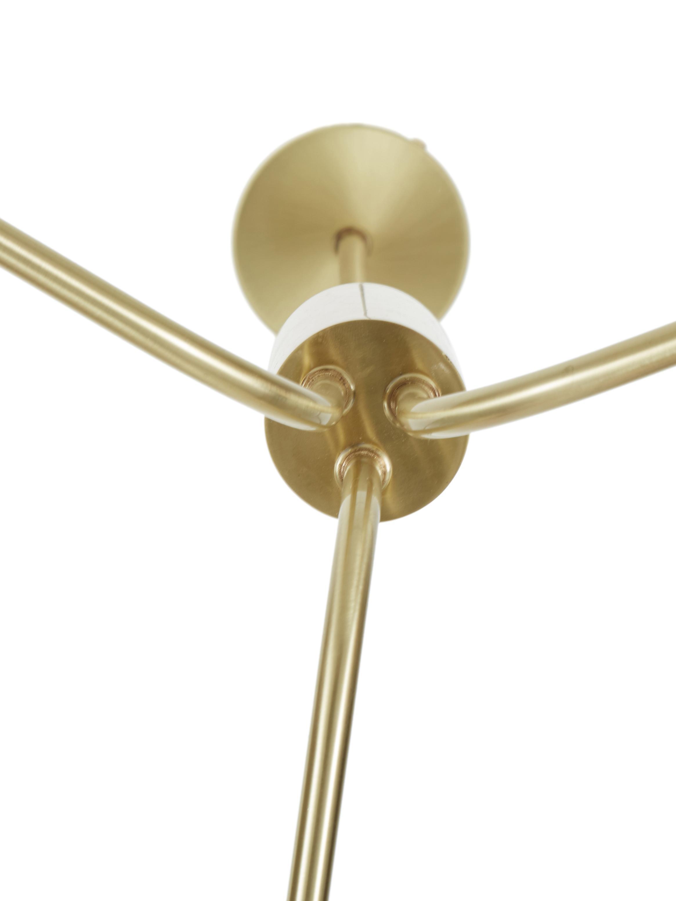 Große Pendelleuchte Darcy, Baldachin: Metall, gebürstet, Messing, Weiß, B 98 x H 85 cm