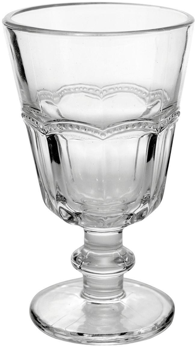 Weingläser Floyd mit verspieltem Relief, 6er-Set, Glas, Transparent, Ø 9 x H 14 cm