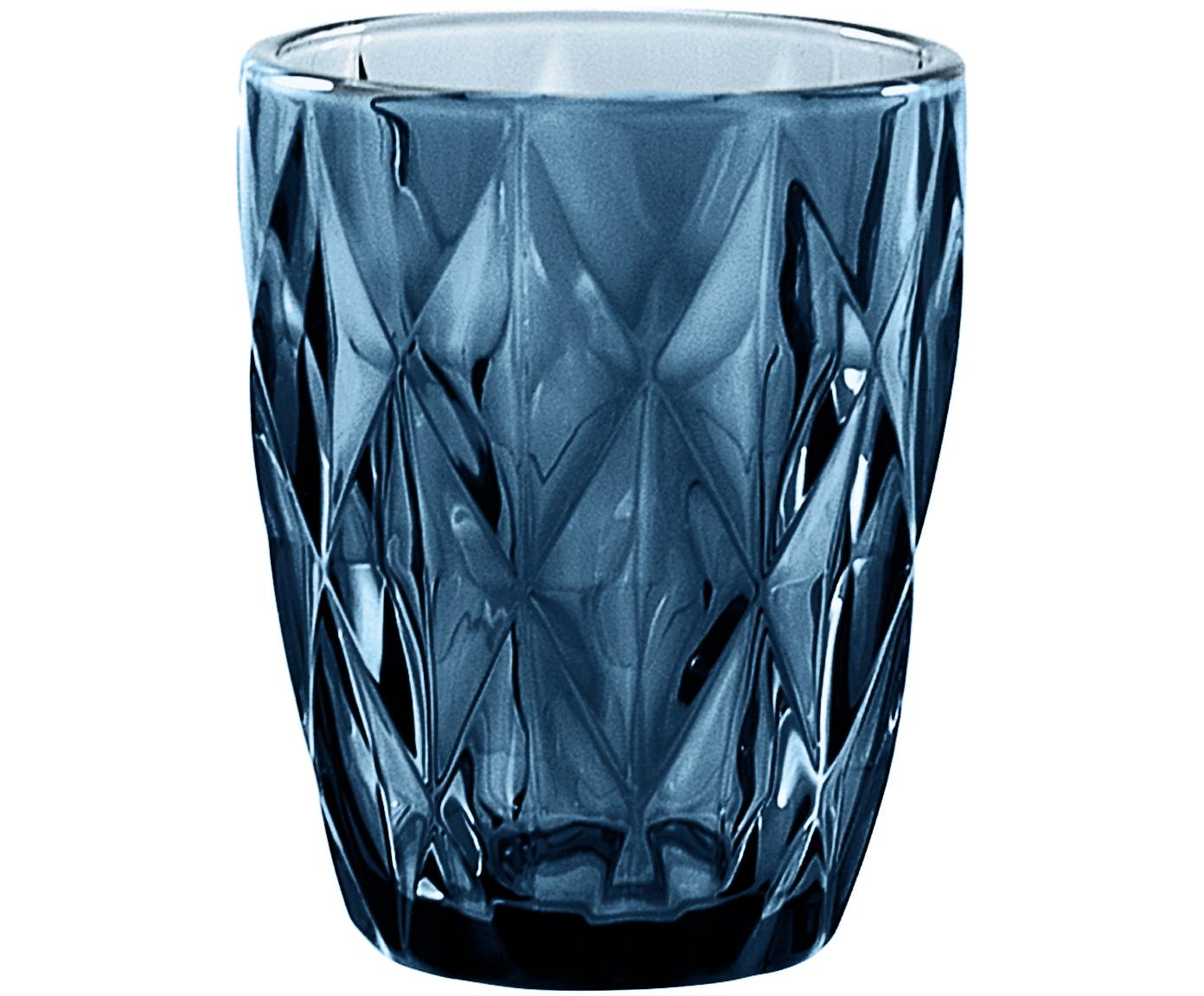 Wassergläser Diamond mit Strukturmuster, 6er-Set, Glas, Blau, leicht transparent, Ø 8 x H 10 cm