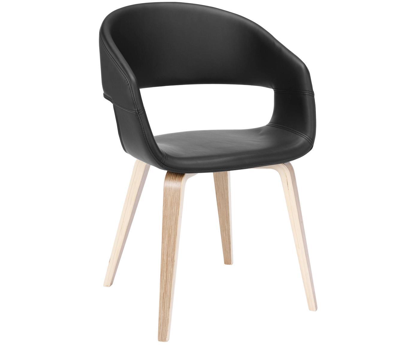 Kunstleder-Armlehnstühle Nova, 2 Stück, Beine: Eichenschichtholz, weiss , Bezug: Kunstleder (Polyurethan), Schwarz, Eiche, B 50 x T 55 cm
