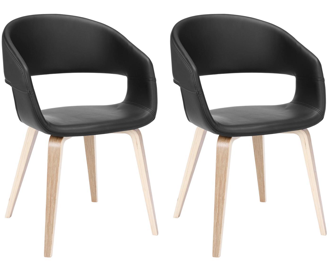 Kunstleder-Armlehnstühle Nova, 2 Stück, Beine: Eichenschichtholz, weiß g, Bezug: Kunstleder (Polyurethan), Schwarz, Eiche, B 50 x T 55 cm