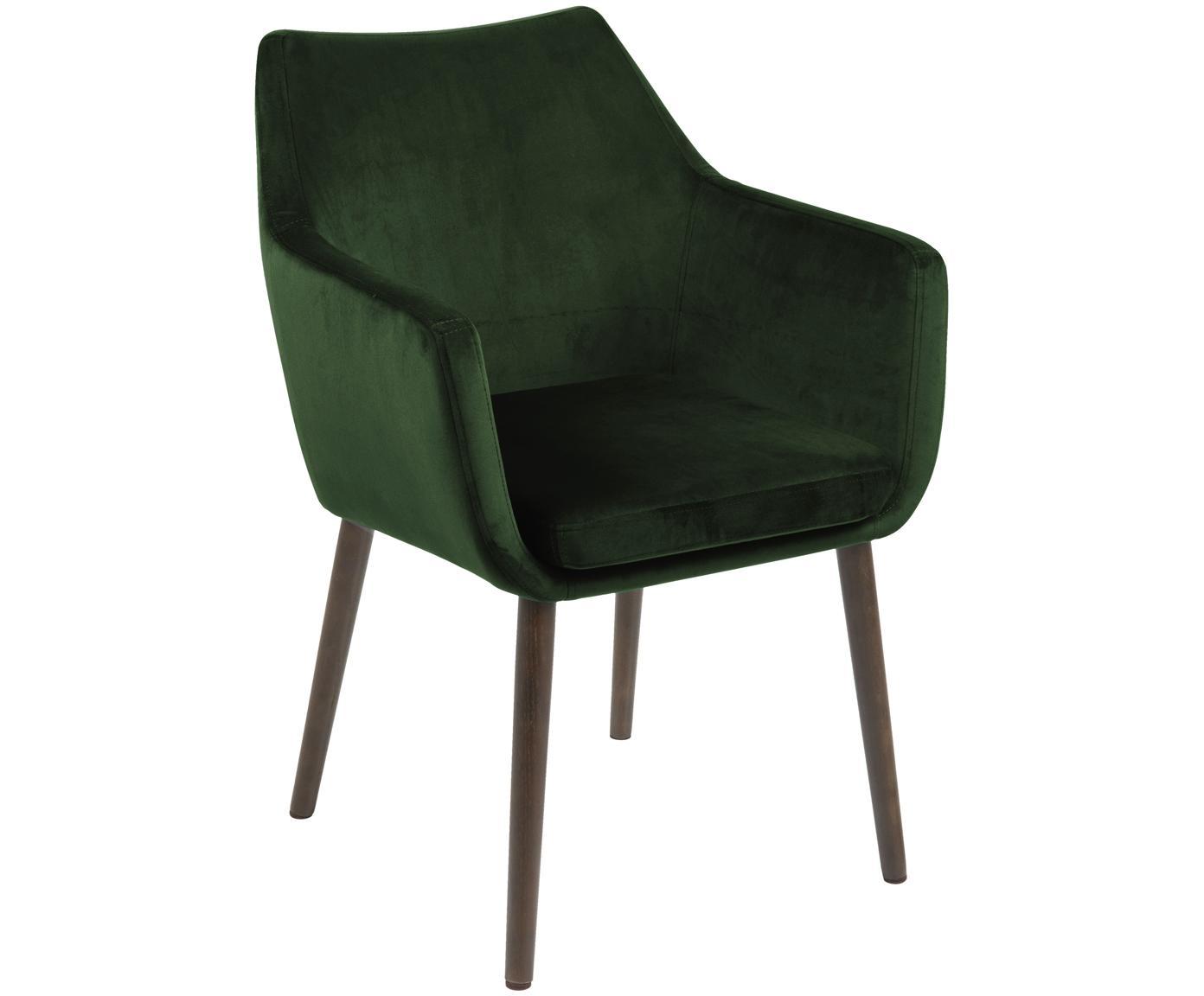 Sedia con braccioli in velluto Nora, Rivestimento: poliestere (velluto), Gambe: legno di quercia vernicia, Velluto verde bosco, gambe marrone scuro, Larg. 58 x Prof. 58 cm