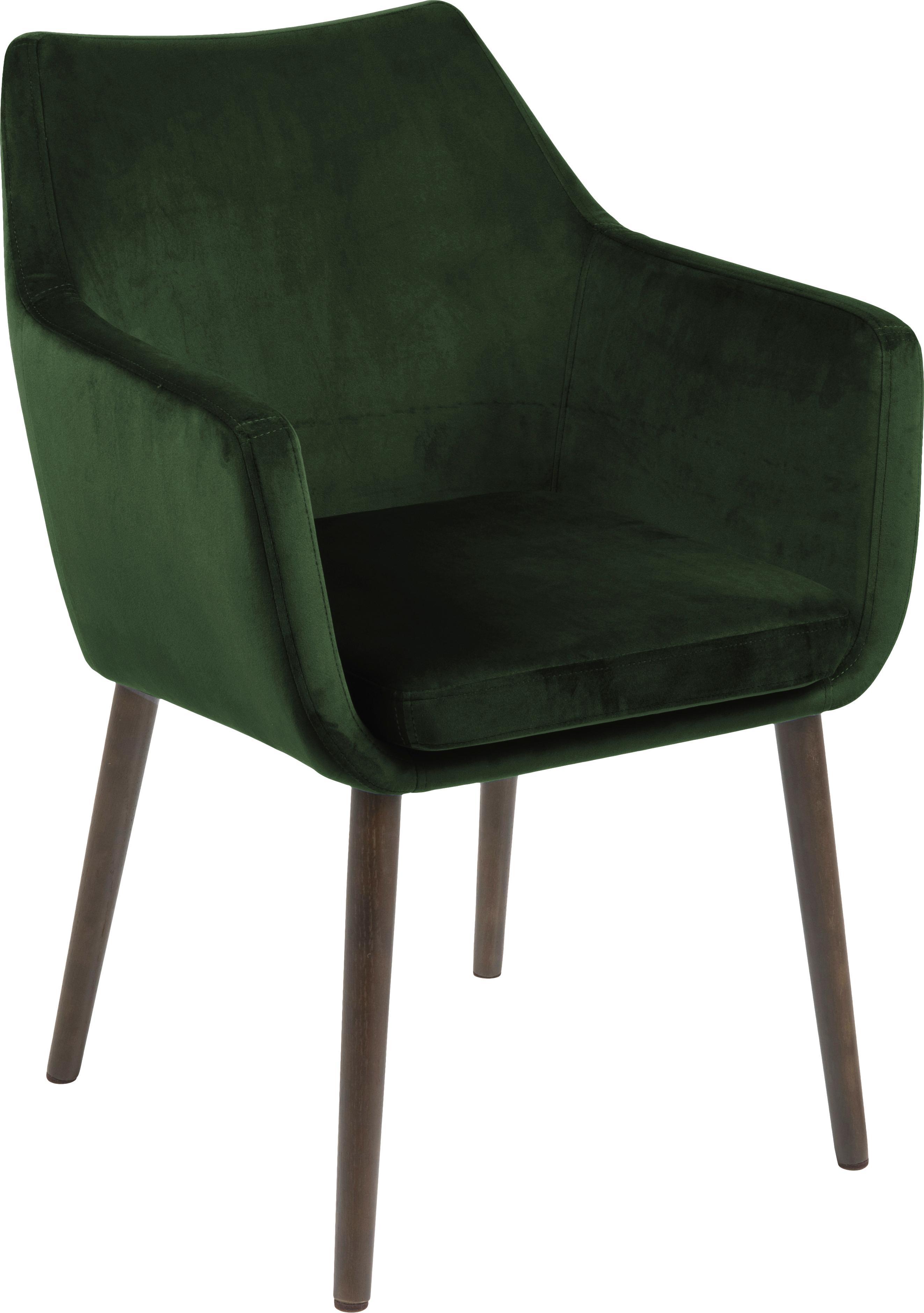 Krzesło z podłokietnikami z aksamitu Nora, Tapicerka: poliester (aksamit), Nogi: drewno dębowe, bejcowane, Aksamitny zielony leśny, nogi: ciemny brązowy, S 58 x W 84 cm