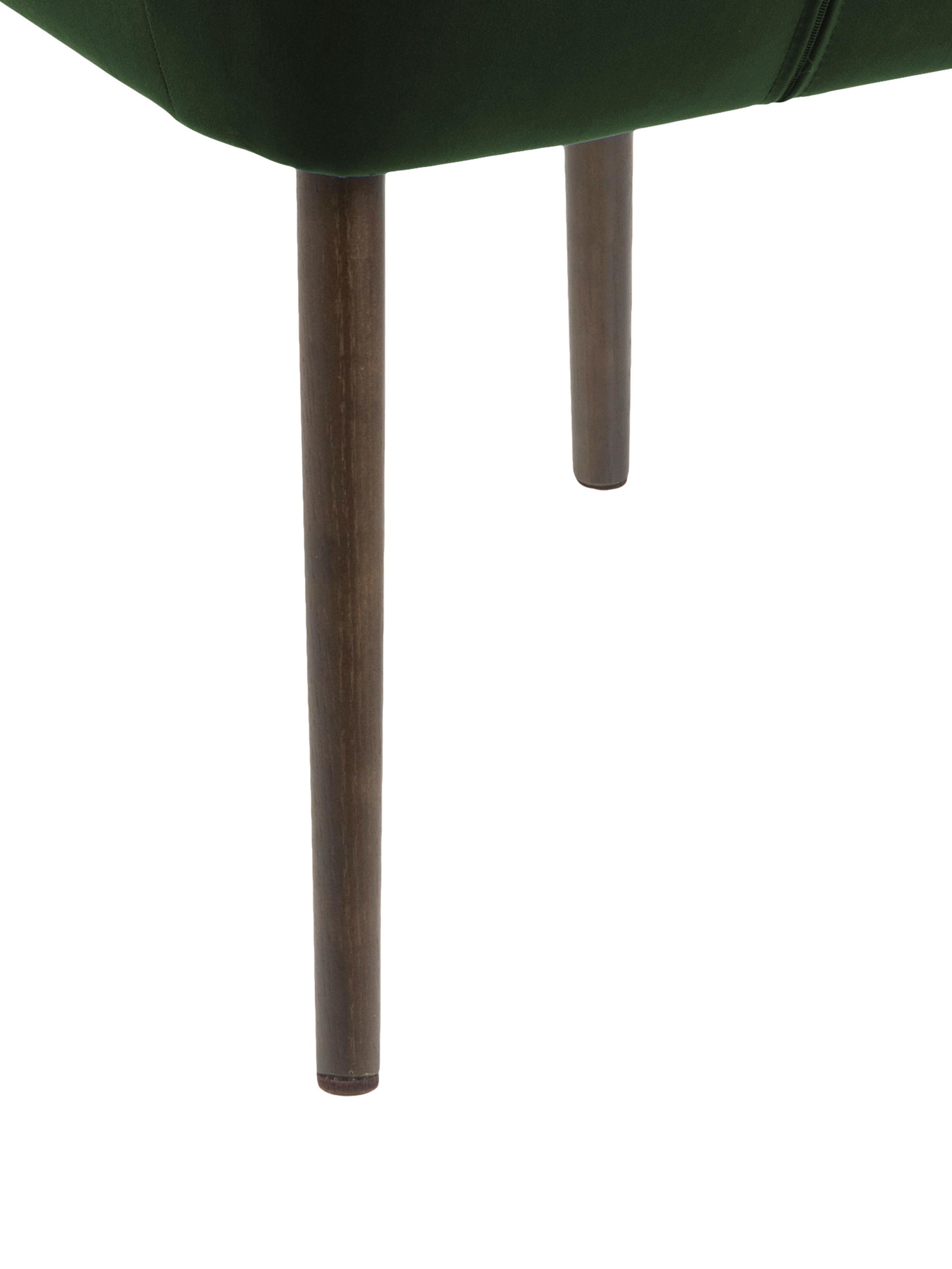 Samt-Polsterstuhl Nora mit Armlehne, Bezug: Polyester (Samt), Beine: Eichenholz, gebeizt, Samt Waldgrün, Beine Dunkelbraun, B 58 x T 58 cm