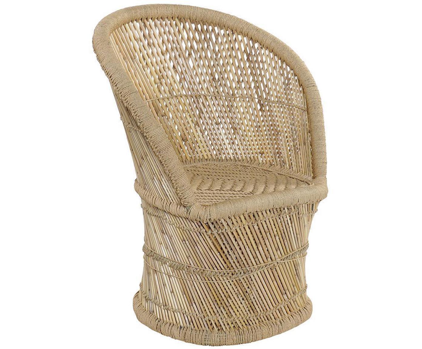 Silla con reposabrazos Crudi, Bambú, cuerda, Beige, An 68 x F 48 cm