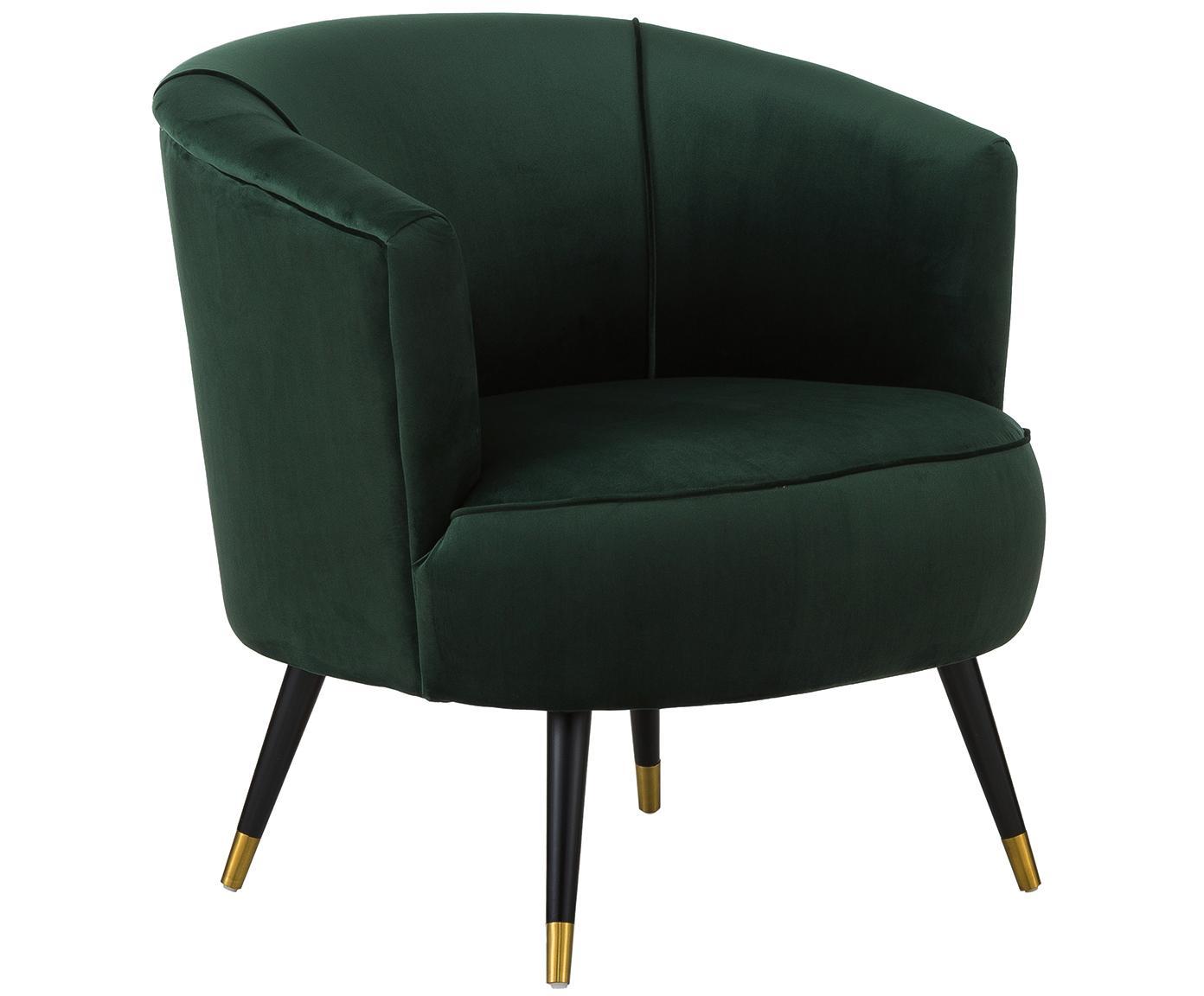 Fotel z aksamitu Ella, Tapicerka: aksamit (poliester) 5000, Nogi: metal lakierowany, Aksamitny ciemny zielony, S 74 x G 78 cm