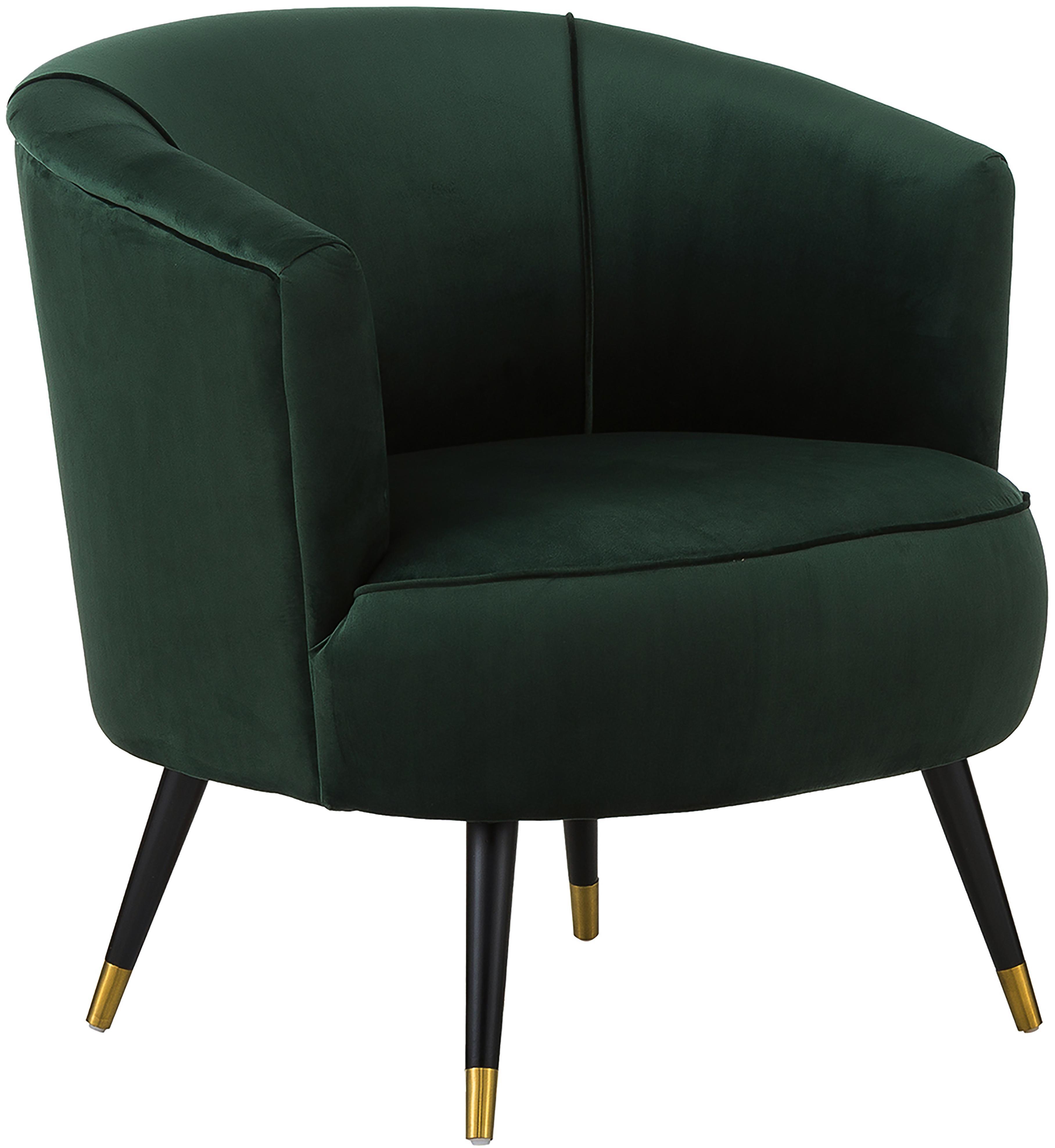 Sillón de terciopelo Ella, Tapizado: terciopelo (poliéster) 50, Patas: metal pintado, Terciopelo verde oscuro, An 74 x F 78 cm