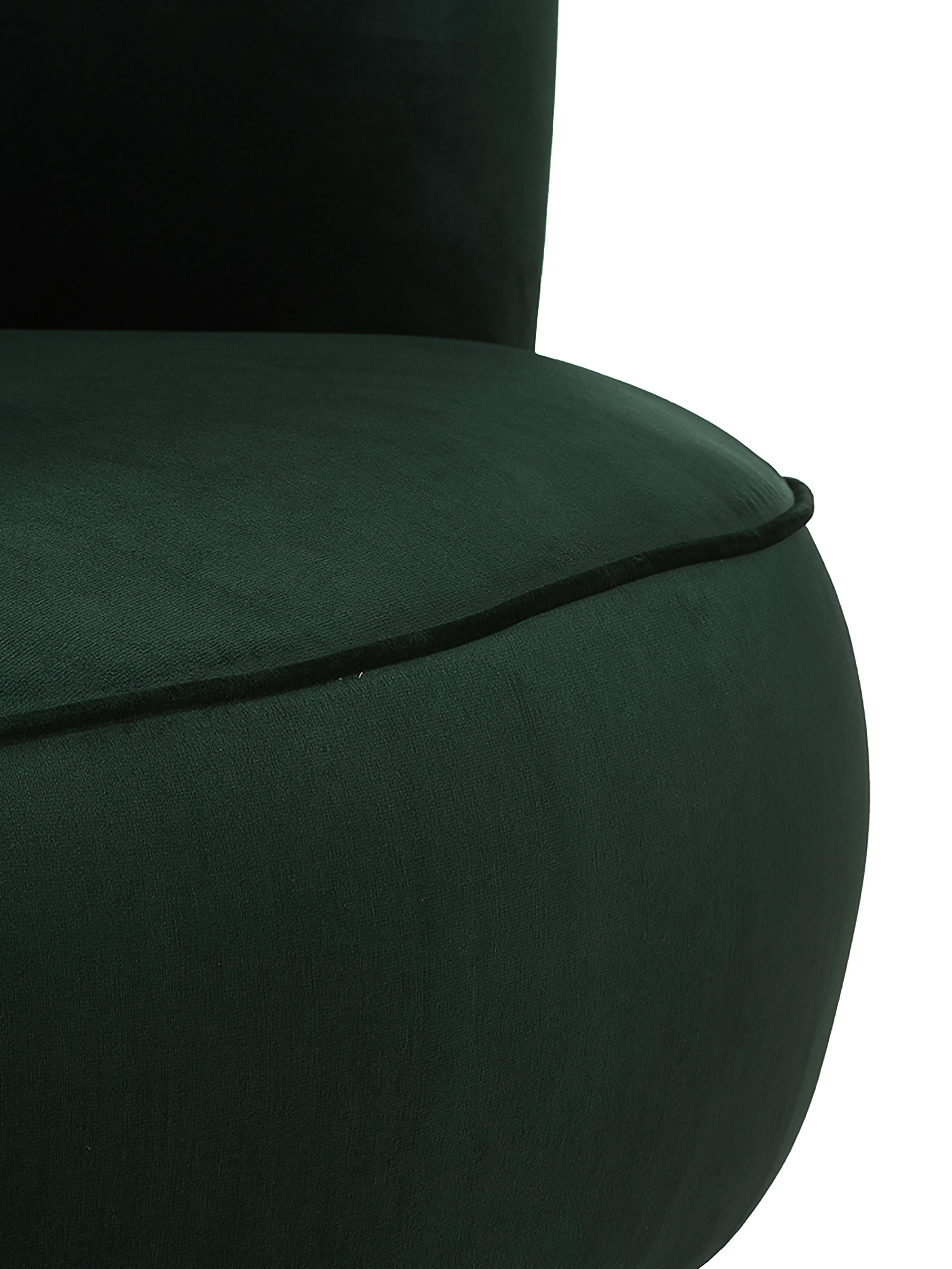Samt-Cocktailsessel Ella in Grün, Bezug: Samt (Polyester) 50.000 S, Füße: Metall, lackiert, Samt Dunkelgrün, B 74 x T 78 cm