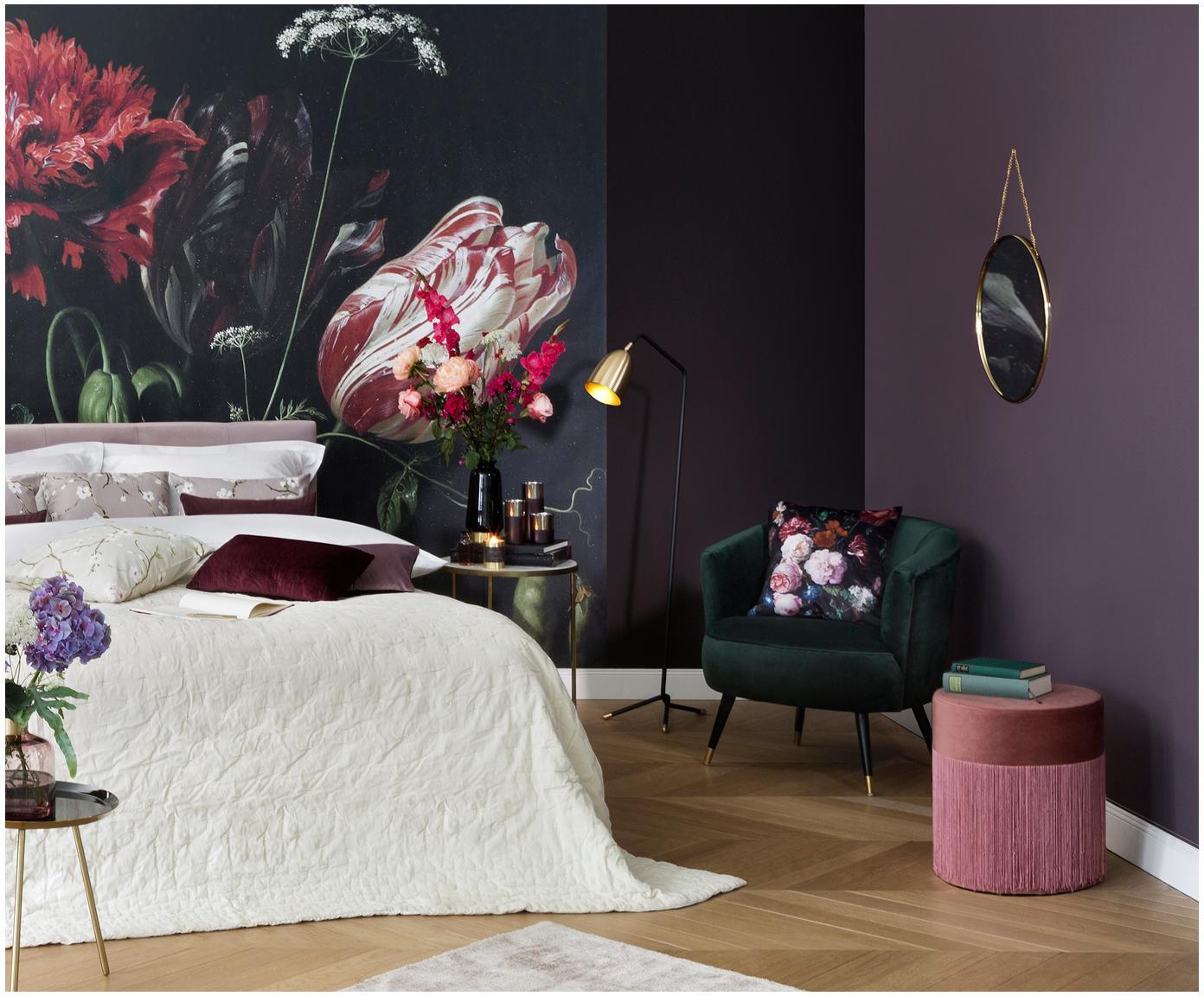 Fluwelen fauteuil Ella, Bekleding: fluweel (polyester), Poten: gelakt metaal, Groen, B 74 x D 78 cm