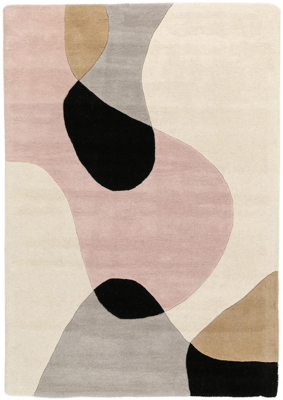 Handgetuft wollen vloerkleed Matrix Arc met geometrisch patroon, Bovenzijde: 100% wol, Onderzijde: katoen, Beigetinten, roze, lichtgrijs, zwart, B 120 x L 170 cm (maat S)
