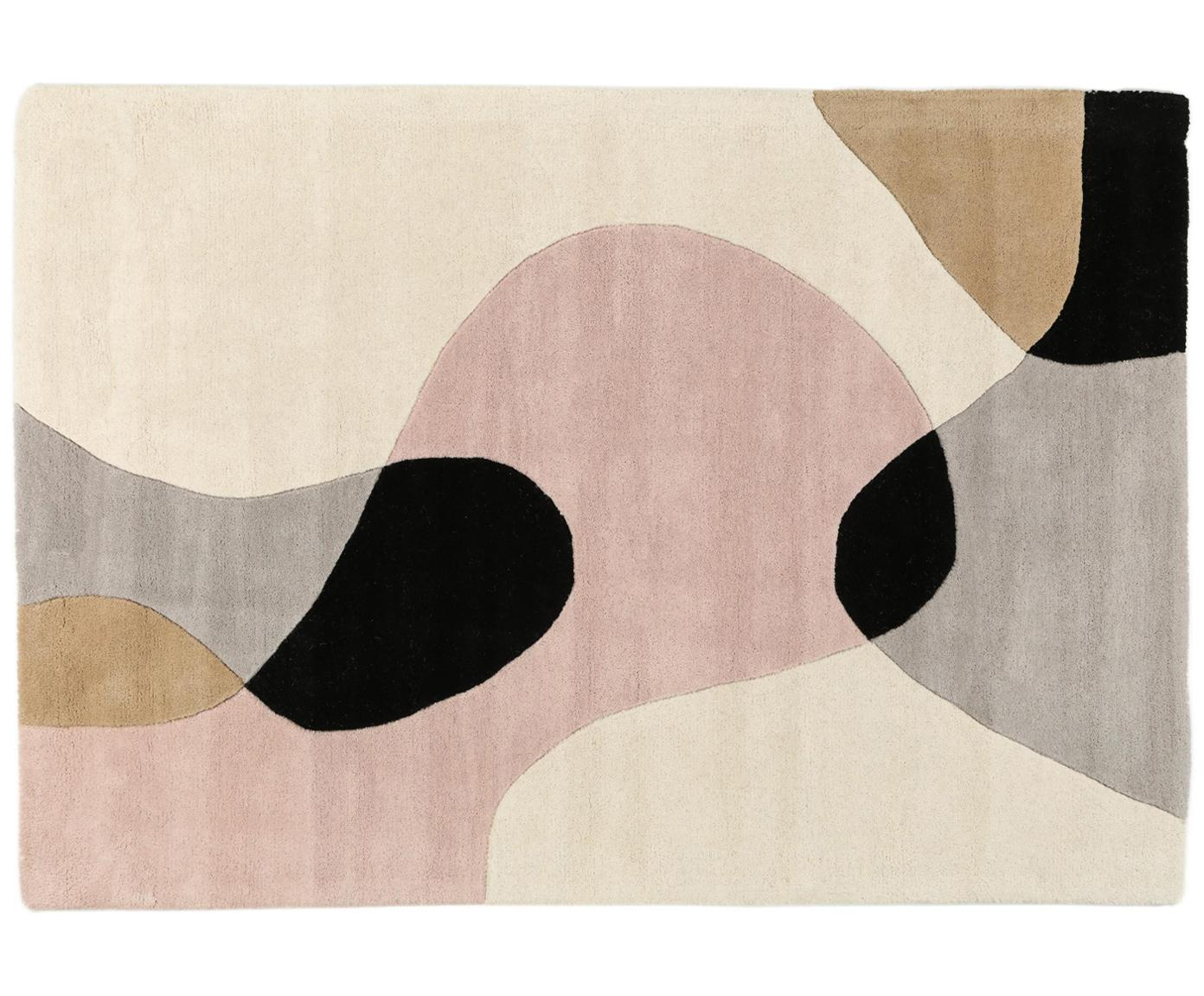 Handgetufteter Wollteppich Matrix Arc mit geometrischem Muster, Flor: 100% Wolle, Beigetöne, Rosa, Hellgrau, Schwarz, B 120 x L 170 cm (Größe S)