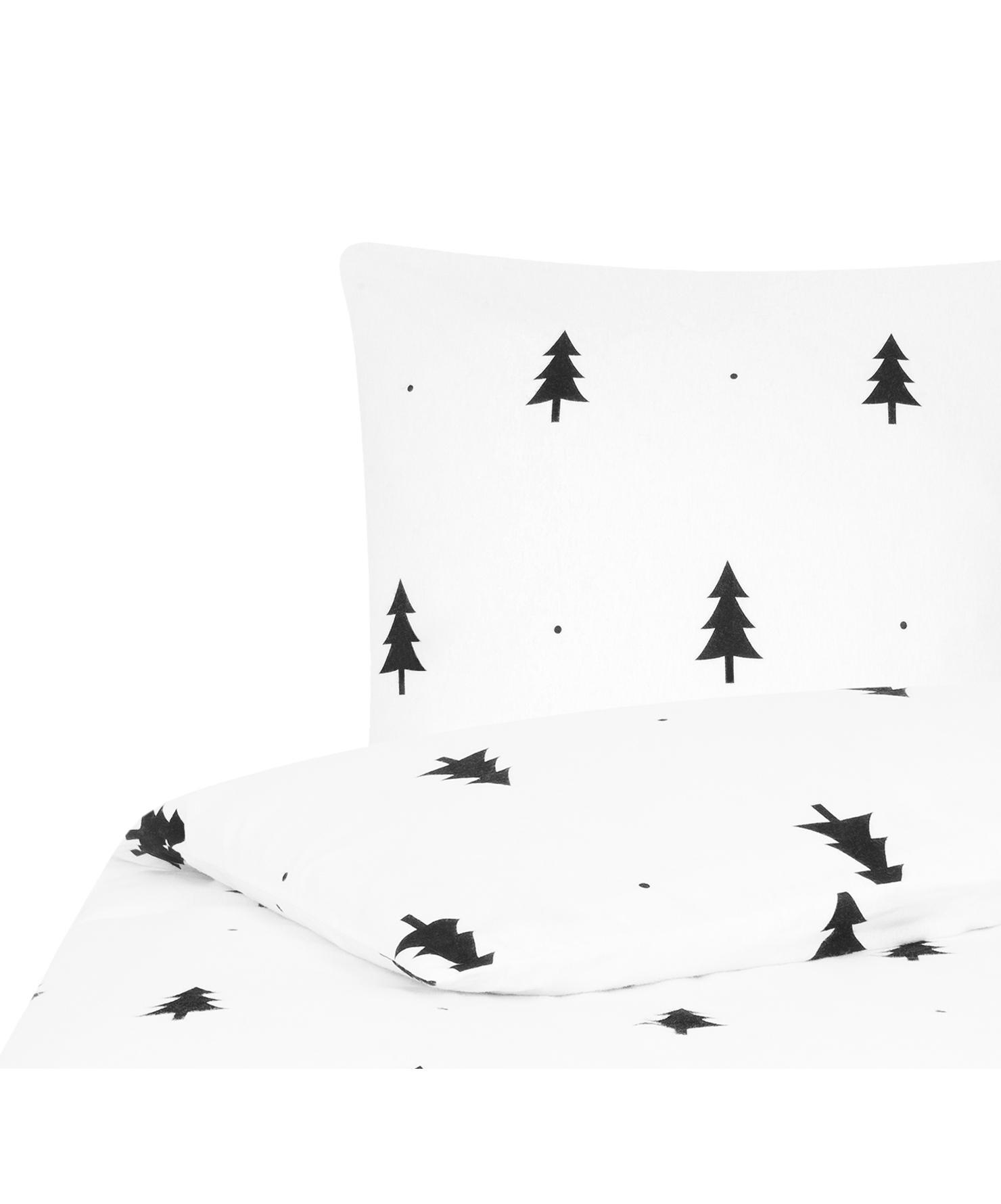 Flanell-Bettwäsche X-mas Tree mit Tannenbäumen, Webart: Flanell Flanell ist ein s, Weiß, Schwarz, 135 x 200 cm + 1 Kissen 80 x 80 cm