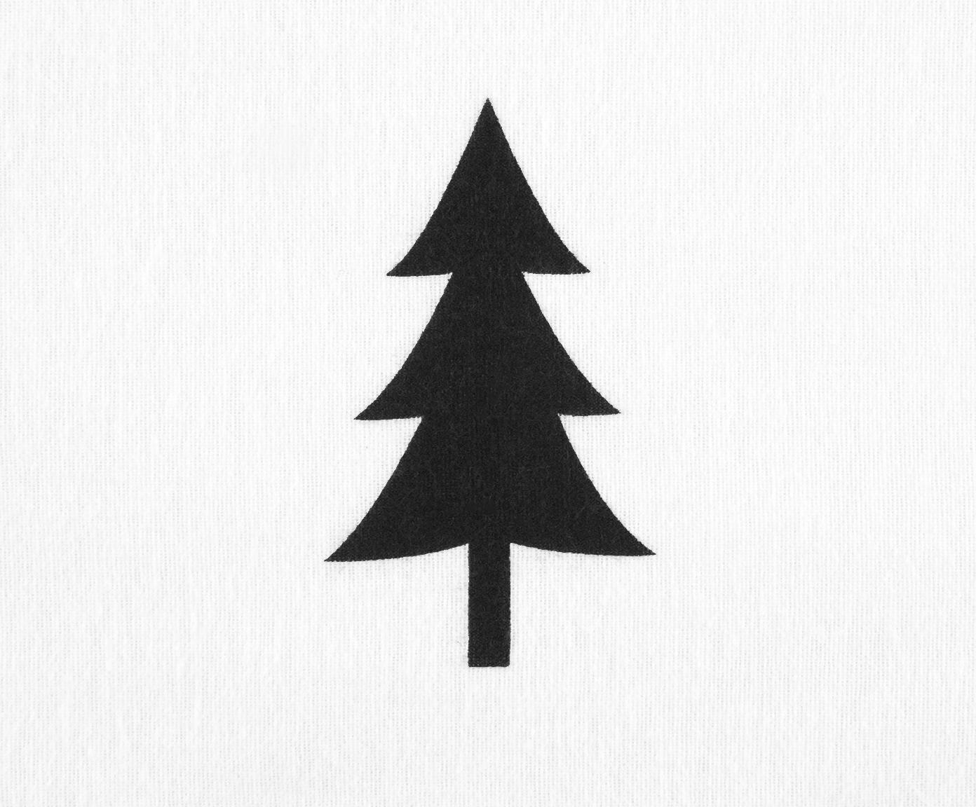 Pościel z flaneli X-mas Tree, Biały, czarny, 240 x 220 cm