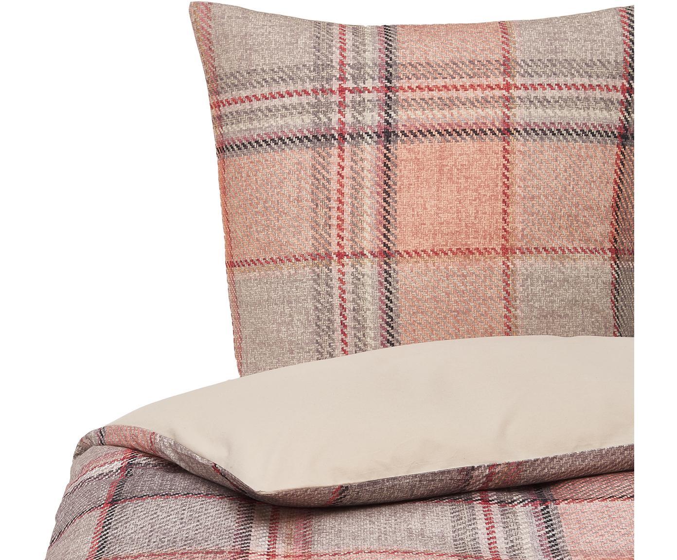Flanell-Bettwäsche Beau in Rosa, Webart: Flanell Fadendichte 144 T, Creme, Grau, Rosa, 135 x 200 cm + 1 Kissen 80 x 80 cm