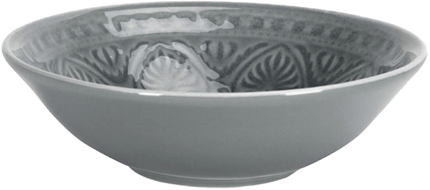 Handbemalte Schale Sumatra in Grau, 2 Stück, Steingut, Grau, Ø 14 x H 4 cm