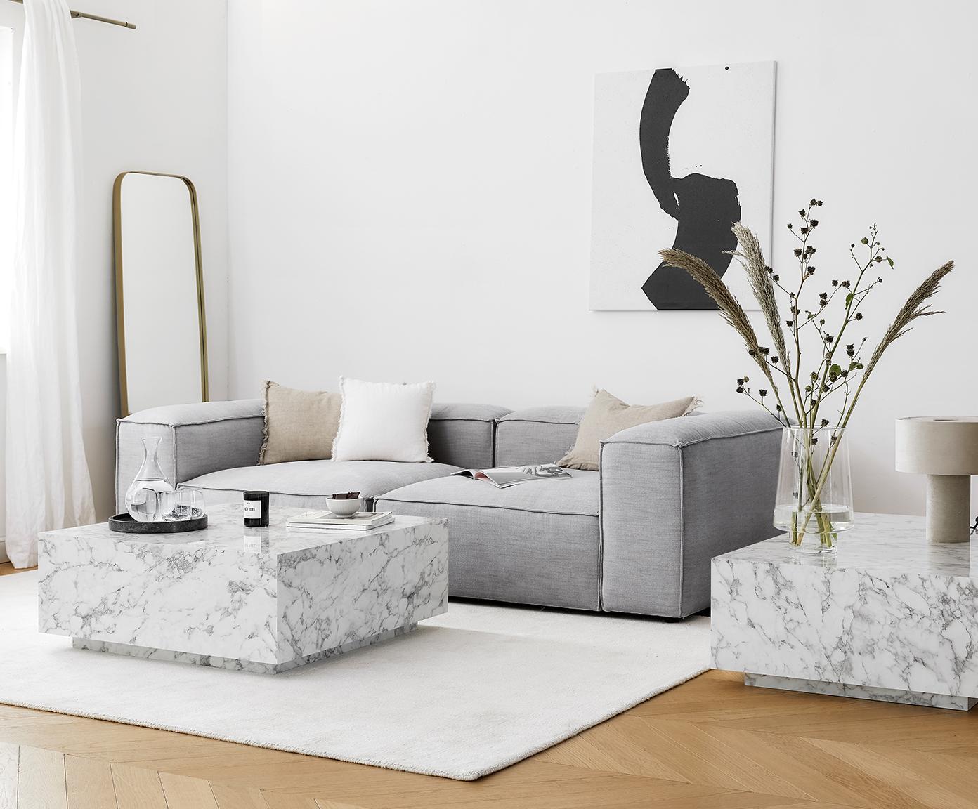 Modulares Sofa Lennon (3-Sitzer), Bezug: Polyester 35.000 Scheuert, Gestell: Massives Kiefernholz, Spe, Webstoff Hellgrau, B 238 x T 119 cm