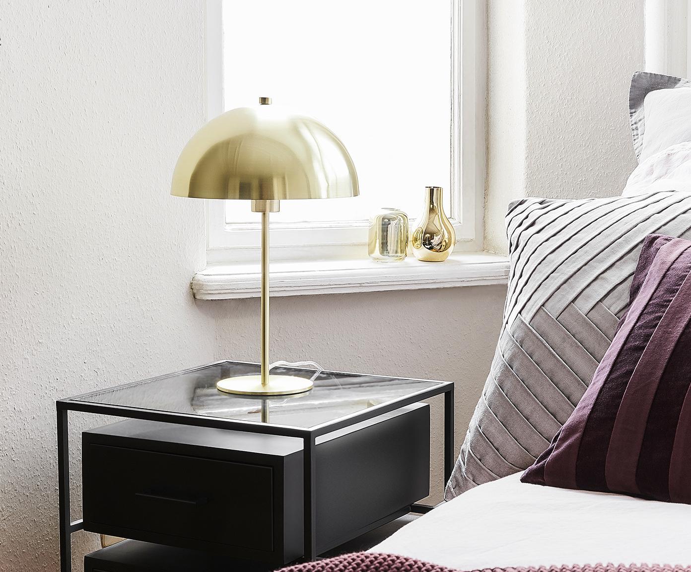 Tafellamp Matilda, Lampenkap: vermessingd metaal, Lampvoet: vermessingd metaal, Messingkleurig, Ø 29 x H 45 cm
