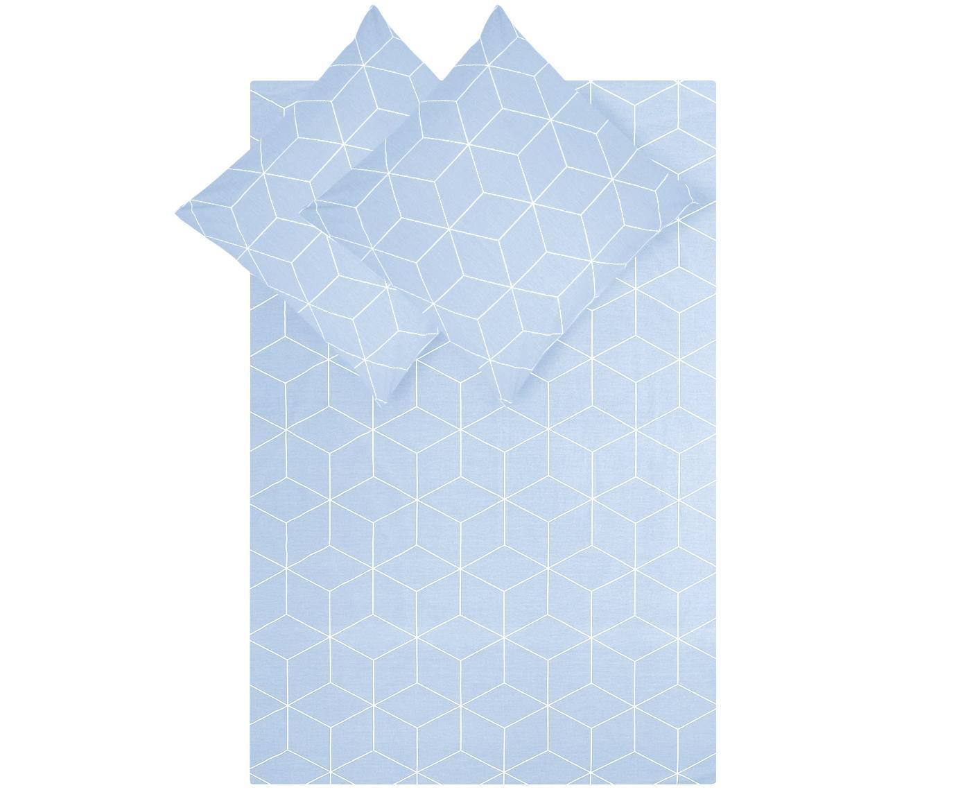 Baumwoll-Bettwäsche Lynn mit grafischem Muster, Webart: Renforcé Fadendichte 144 , Hellblau, Cremeweiß, 240 x 220 cm + 2 Kissen 80 x 80 cm