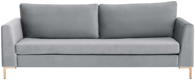Fluwelen bank Luna (3-zits), Bekleding: fluweel (polyester), Frame: massief beukenhout, Poten: gegalvaniseerd metaal, Fluweel lichtgrijs, goudkleurig, B 230 x D 95 cm