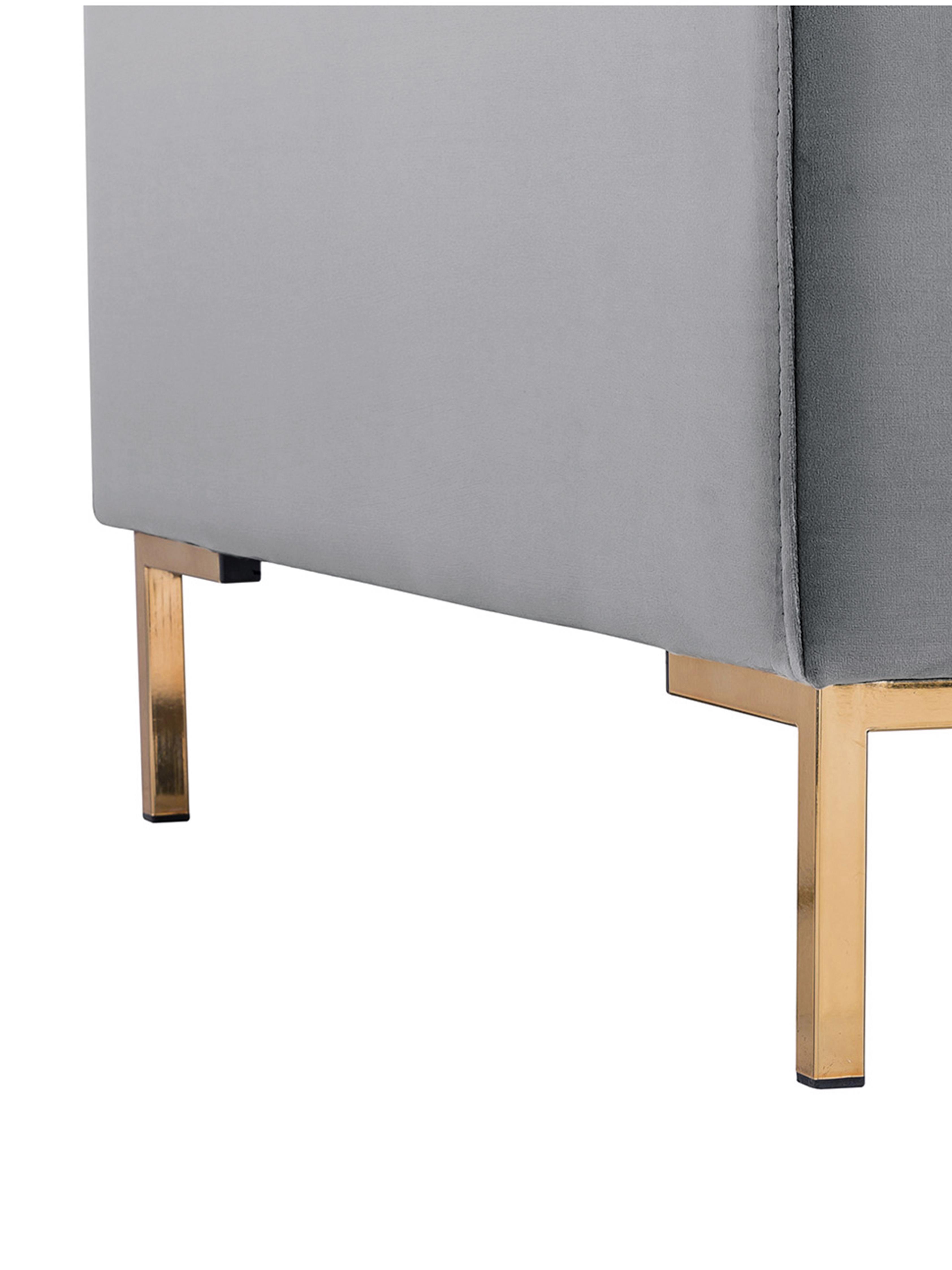Samt-Sofa Luna (3-Sitzer), Bezug: Samt (Polyester) Der hoch, Gestell: Massives Buchenholz, Füße: Metall, galvanisiert, Samt Hellgrau, Gold, B 230 x T 95 cm