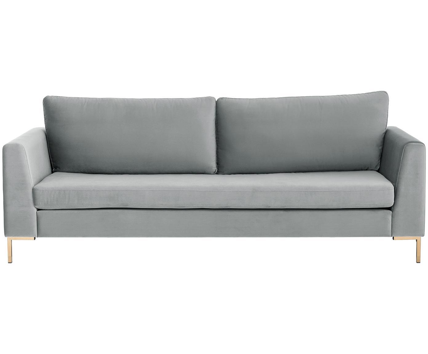 Sofa z aksamitu Luna (3-osobowa), Tapicerka: aksamit (poliester) 8000, Stelaż: lite drewno bukowe, Nogi: metal galwanizowany, Aksamitny jasny szary, złoty, S 230 x G 95 cm