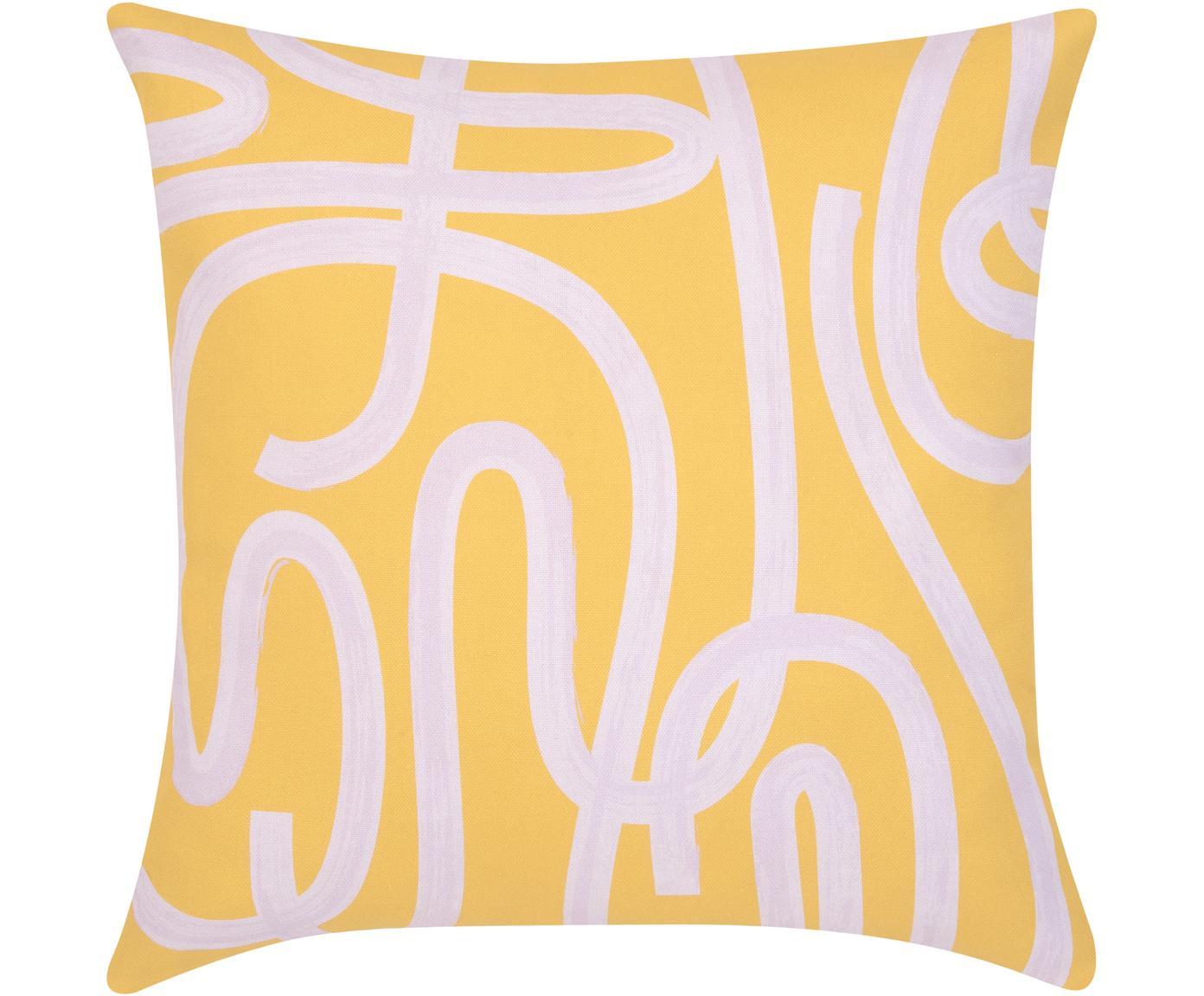 Poszewka na poduszkę Elijah, Bawełna, Beżowy, czarny, S 40 x D 40 cm