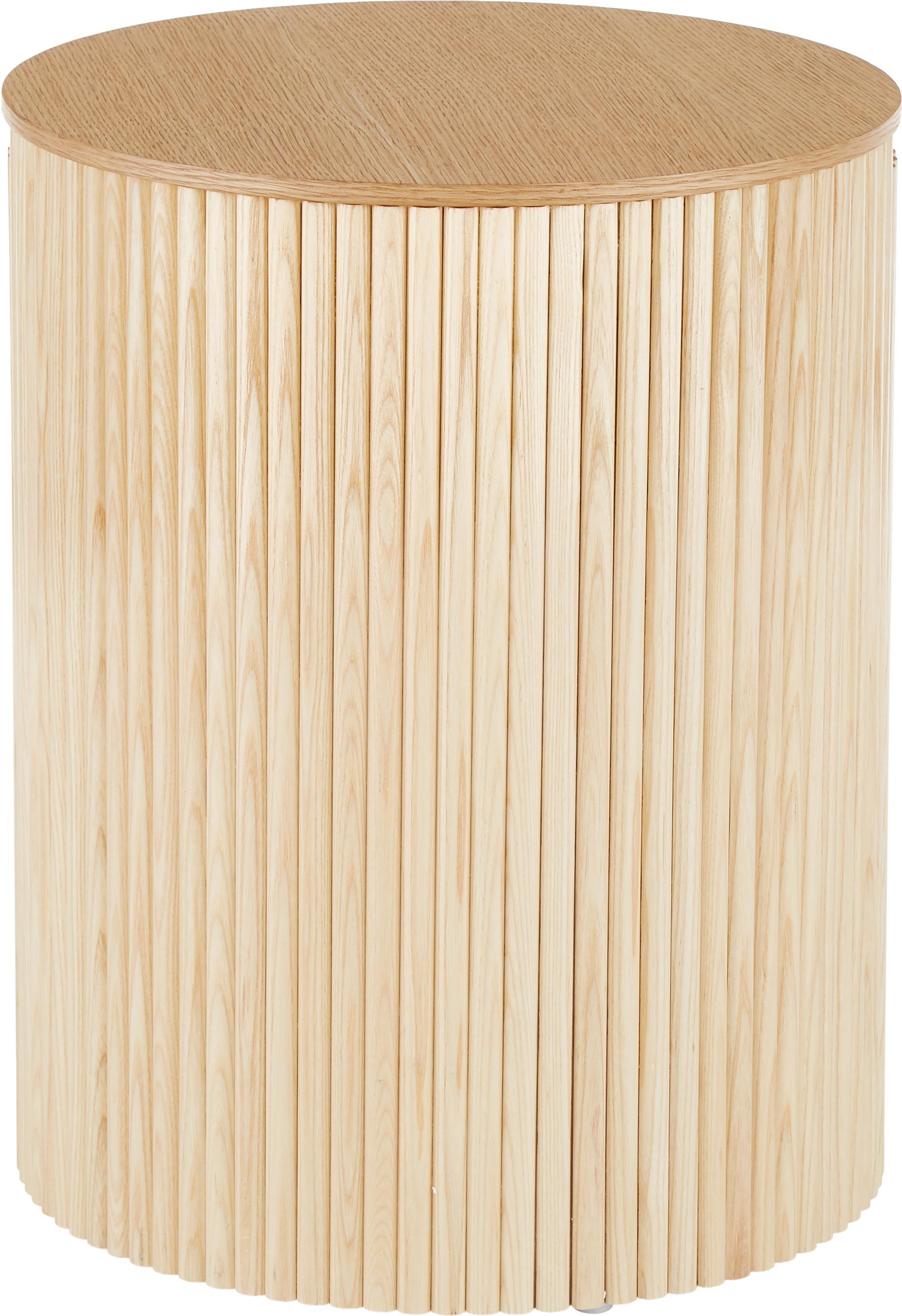 Stolik pomocniczy z miejscem do przechowywania Nele, Płyta pilśniowa (MDF) z fornirem z drewna jesionowego, Okleina jesionowa, Ø 40 x W 51 cm