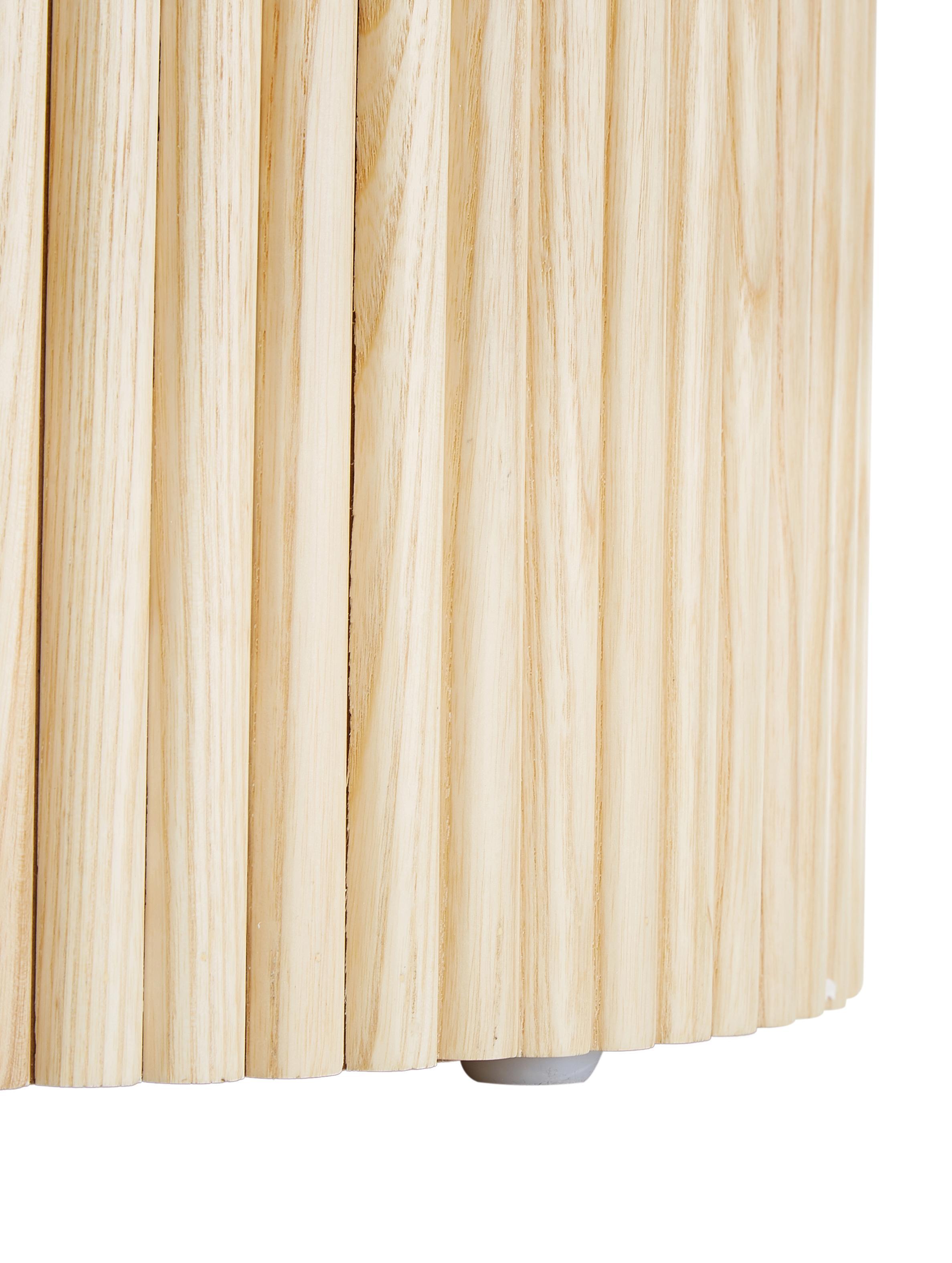 Tavolino contenitore rotondo Nele, Pannelli di fibra a media densità (MDF) con impiallacciatura di frassino, Impiallacciatura di frassino, Ø 40 x Alt. 51 cm