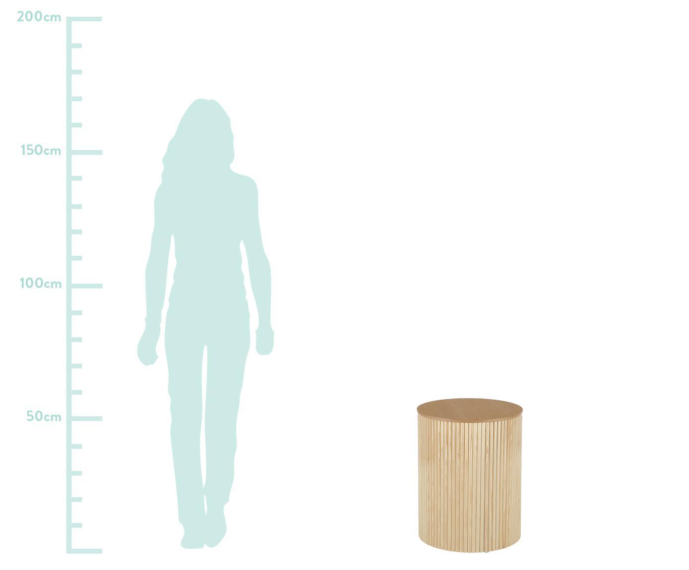 Beistelltisch Nele mit Stauraum, Mitteldichte Holzfaserplatte (MDF) mit Eschenholzfurnier, Eschenholzfurnier, ∅ 40 x H 51 cm