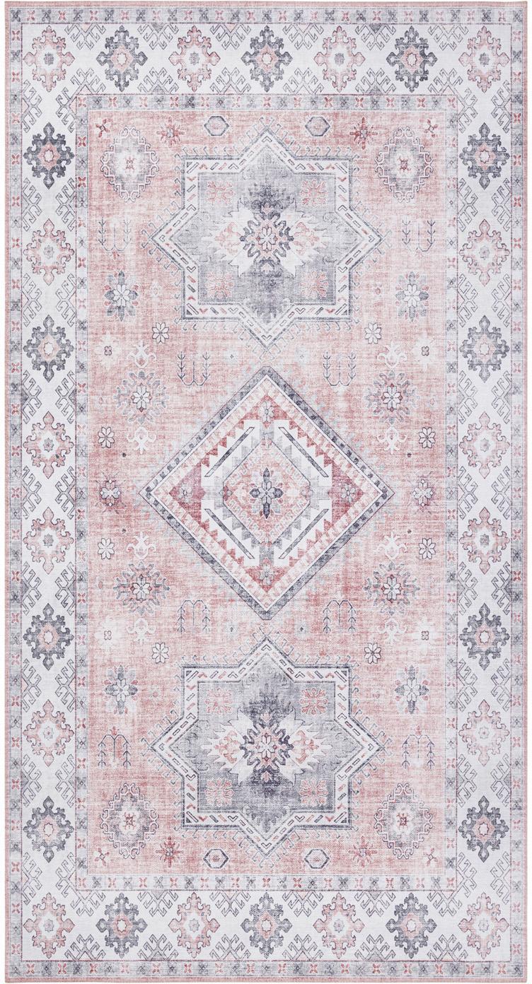 Teppich Gratia im Vintage Style, Altrosa, Grau, B 80 x L 150 cm (Grösse XS)