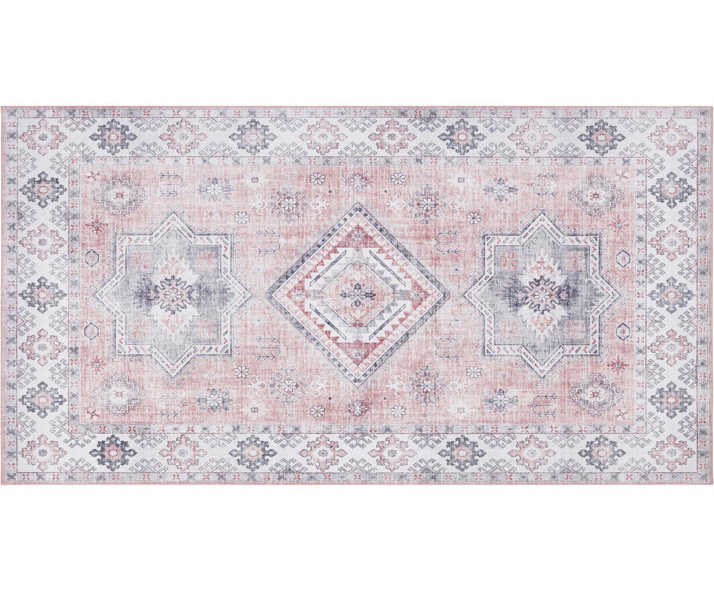 Loper Gratia in vintage stijl, Polyester, Oudroze, grijs, B 80 x L 150 cm (maat XS)